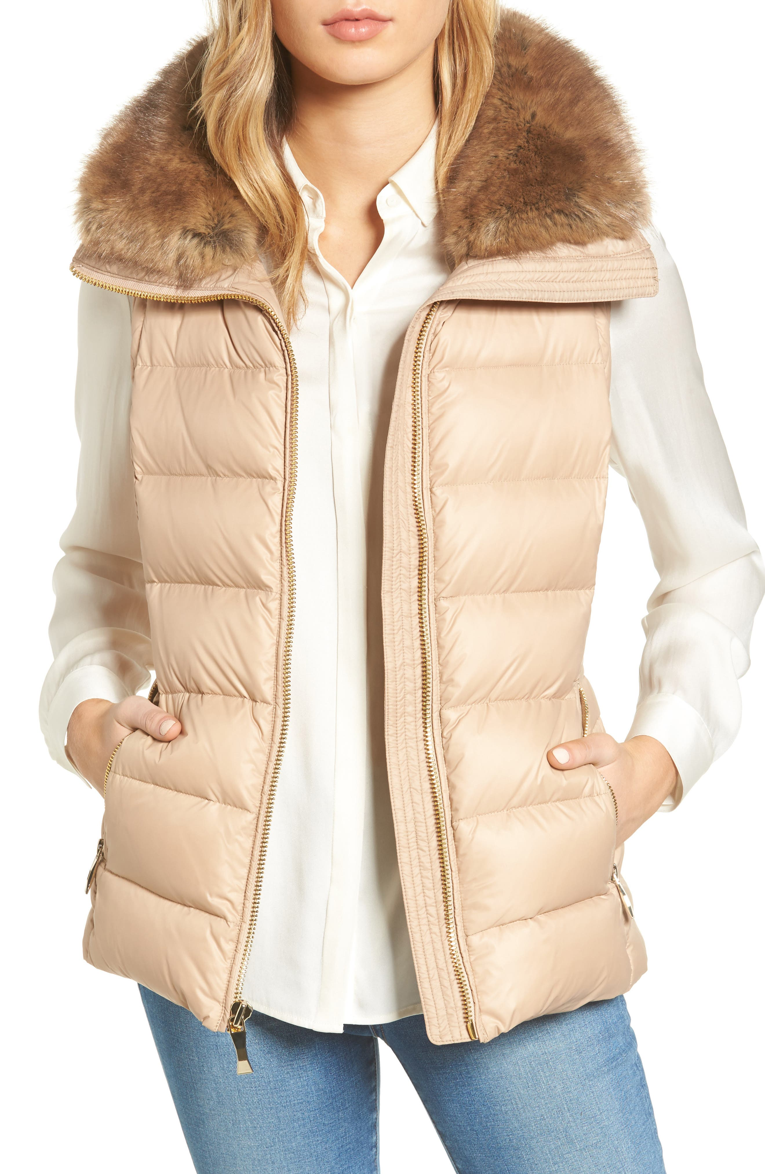 quilted puffer down vest with faux fur trim,                         Main,                         color, Deco Beige