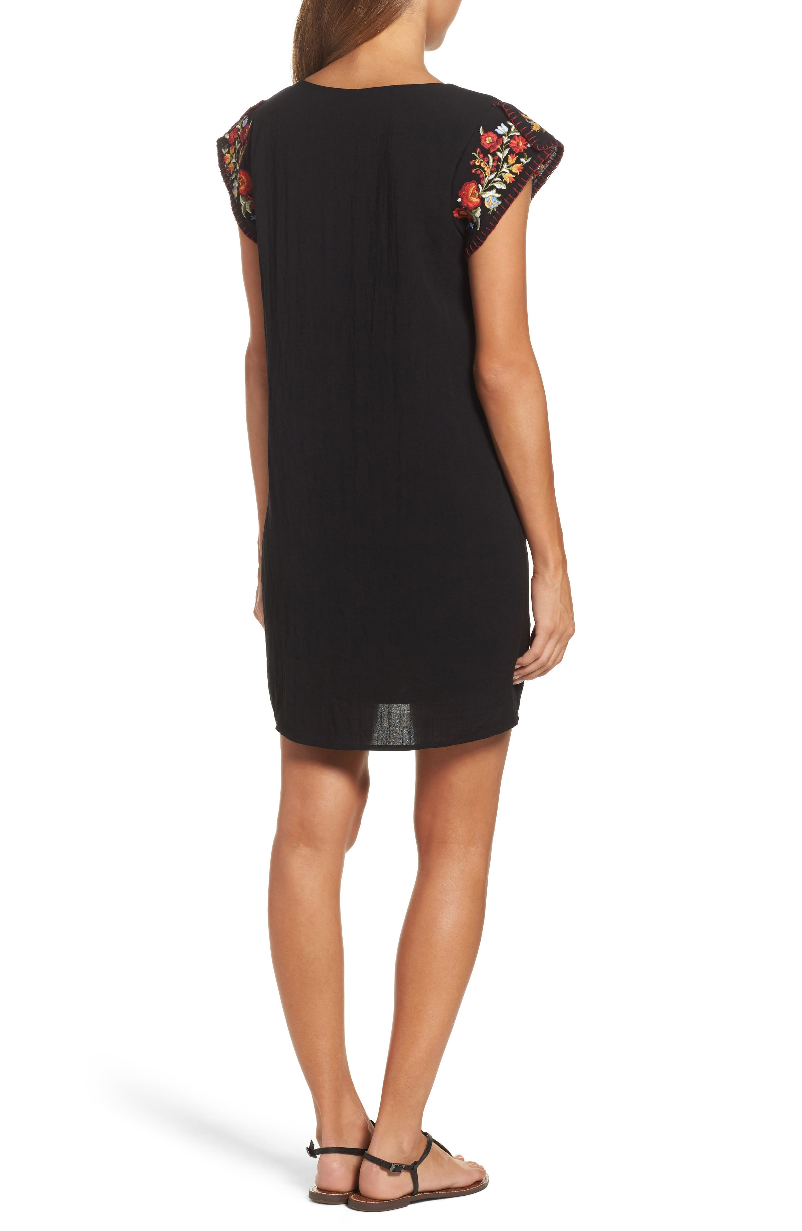 Embroidered Shift Dress,                             Alternate thumbnail 2, color,                             Black