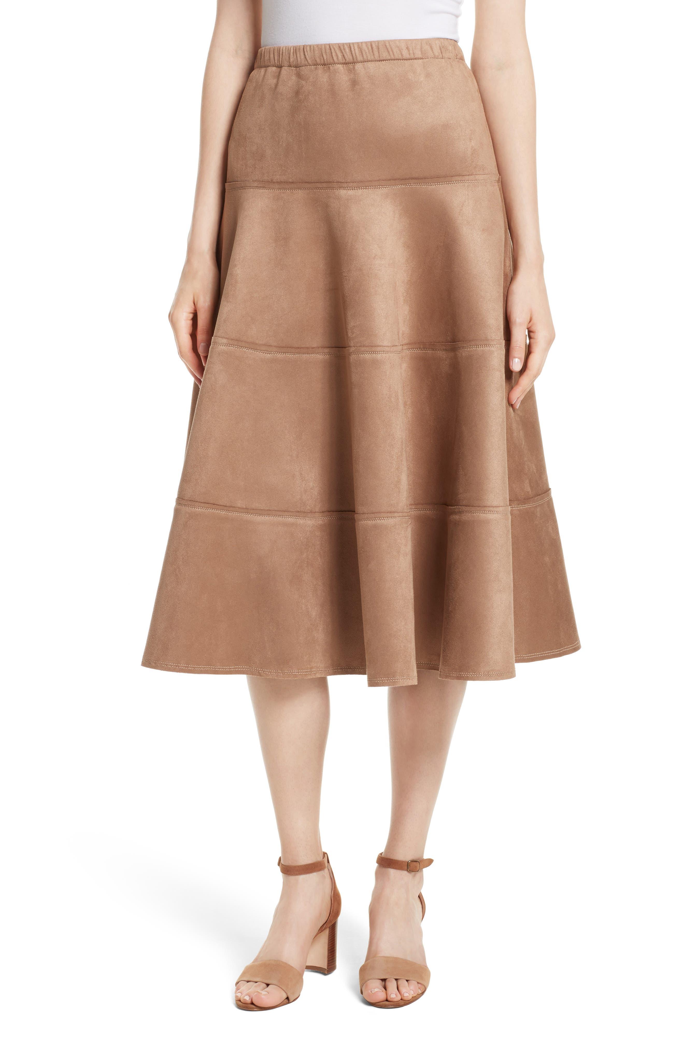 Metallic Midi Skirt,                             Main thumbnail 1, color,                             Dark Sand