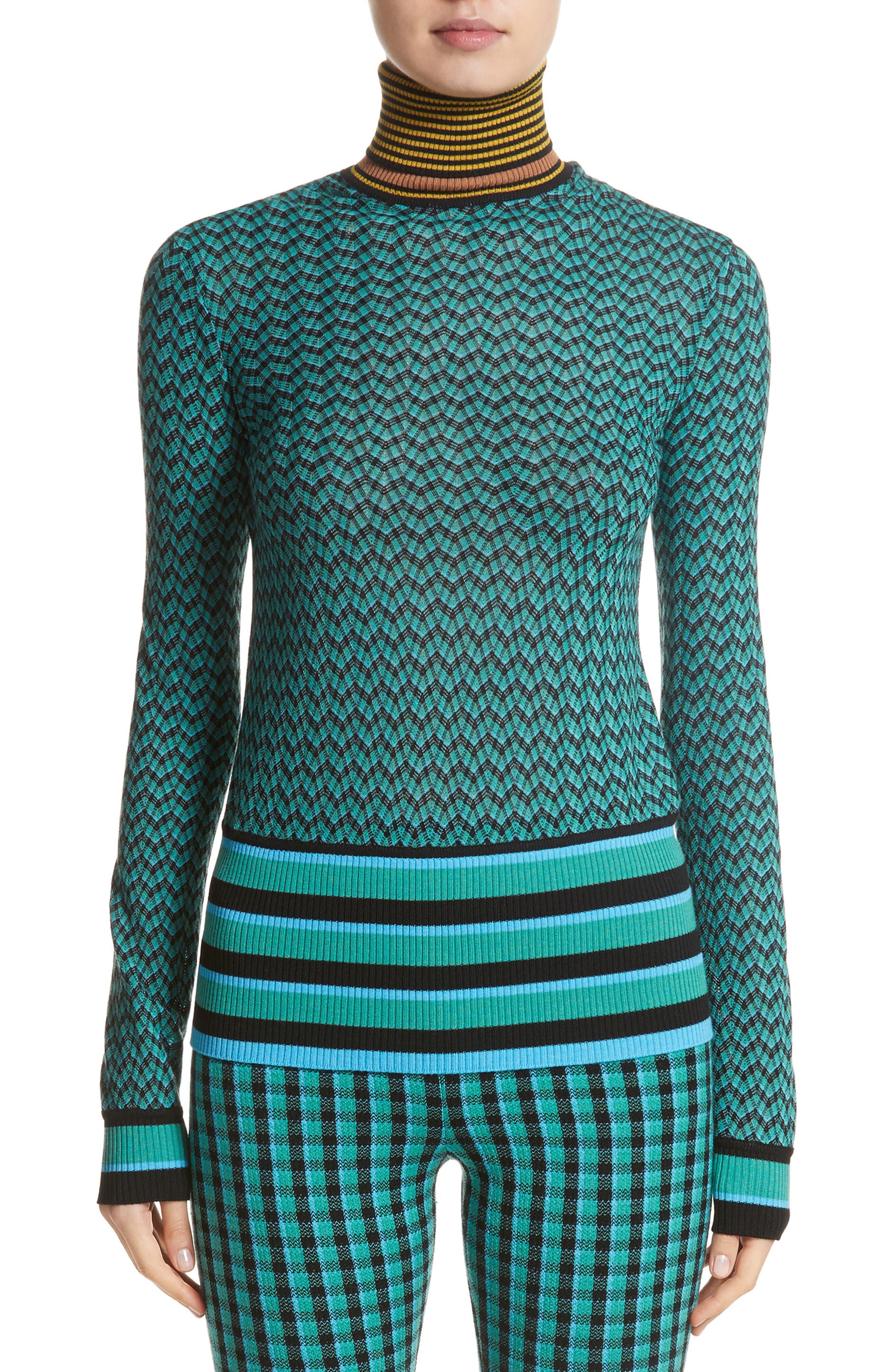 Zigzag & Stripe Mock Neck Sweater,                         Main,                         color, Green/ Blue