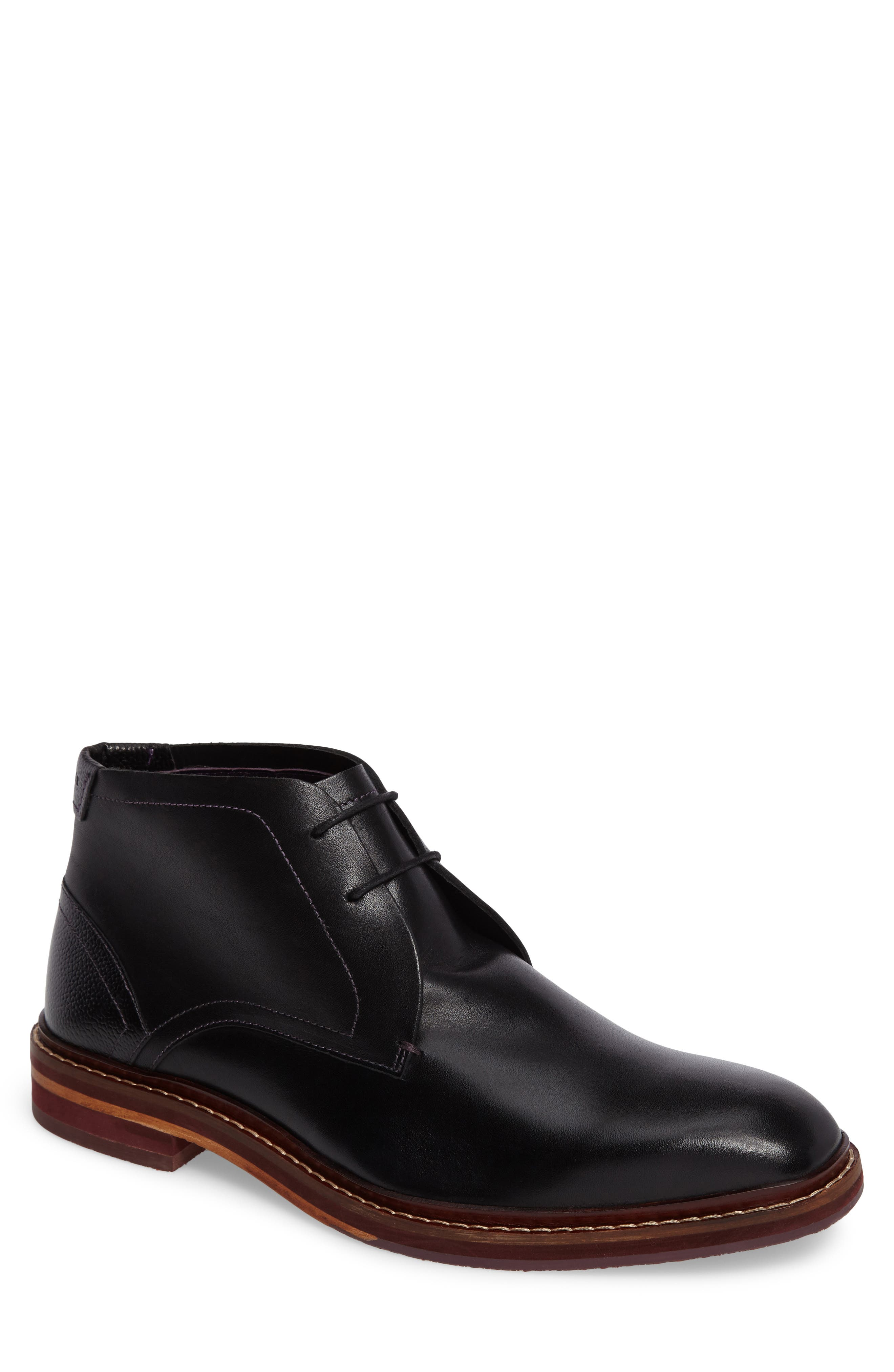 Azzlan Chukka Boot,                         Main,                         color, Black Leather