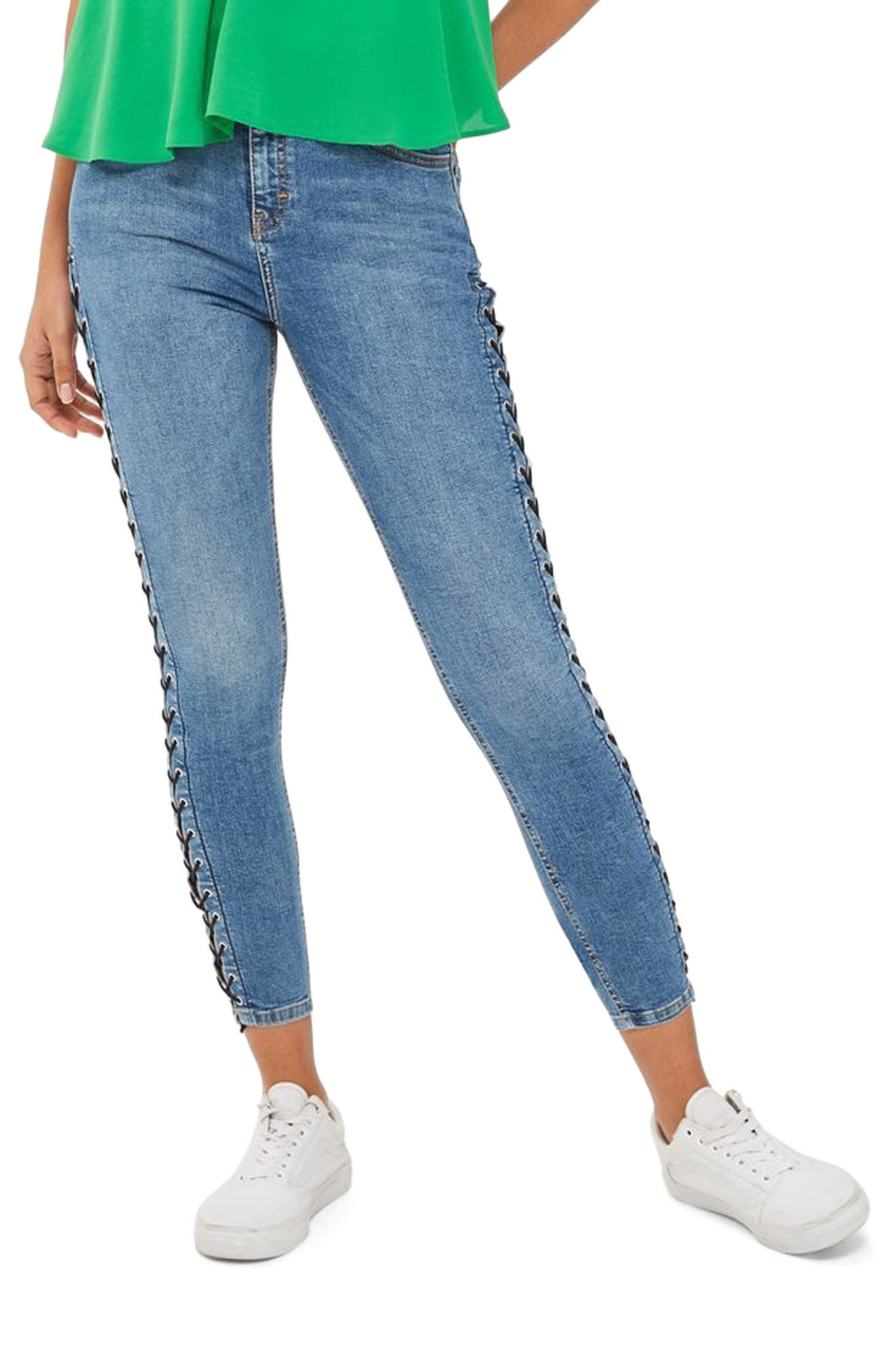 TOPSHOP Jamie Side Lace-Up Ankle Skinny Jeans