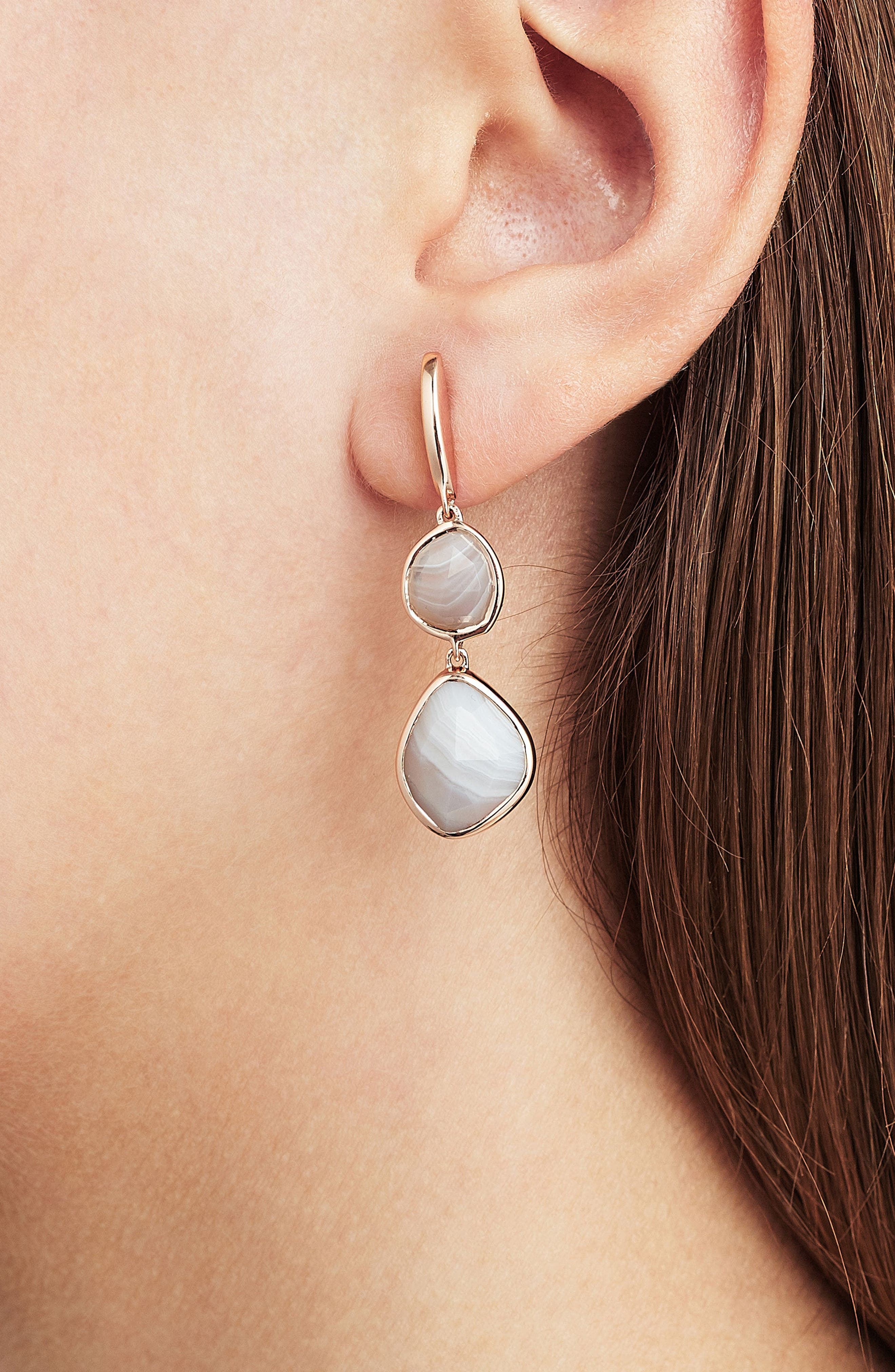 Siren Semiprecious Stone Drop Earrings,                             Alternate thumbnail 3, color,                             Grey Agate/ Rose Gold