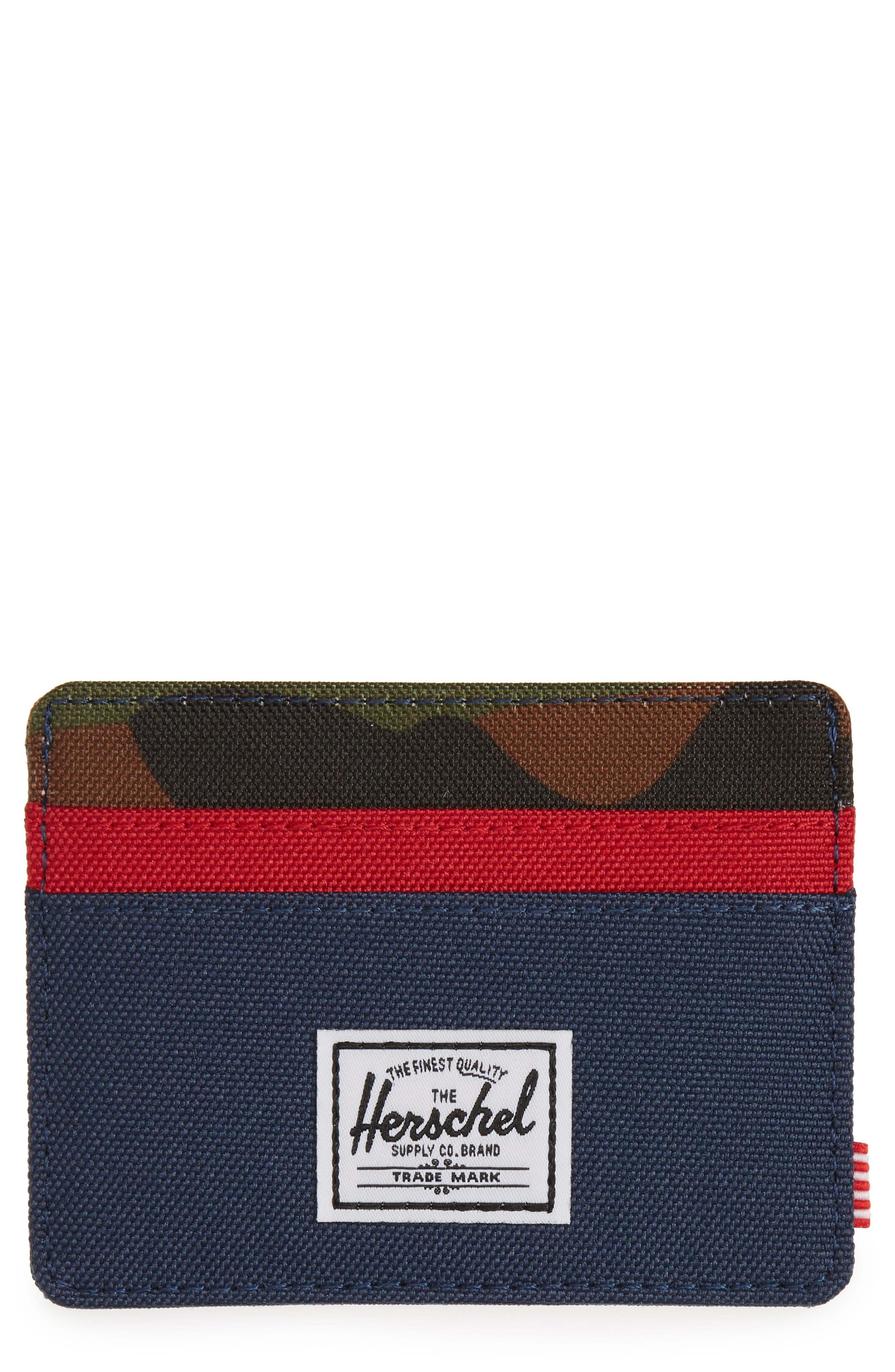 Charlie RFID Card Case,                         Main,                         color, Navy/ Red/ Camo