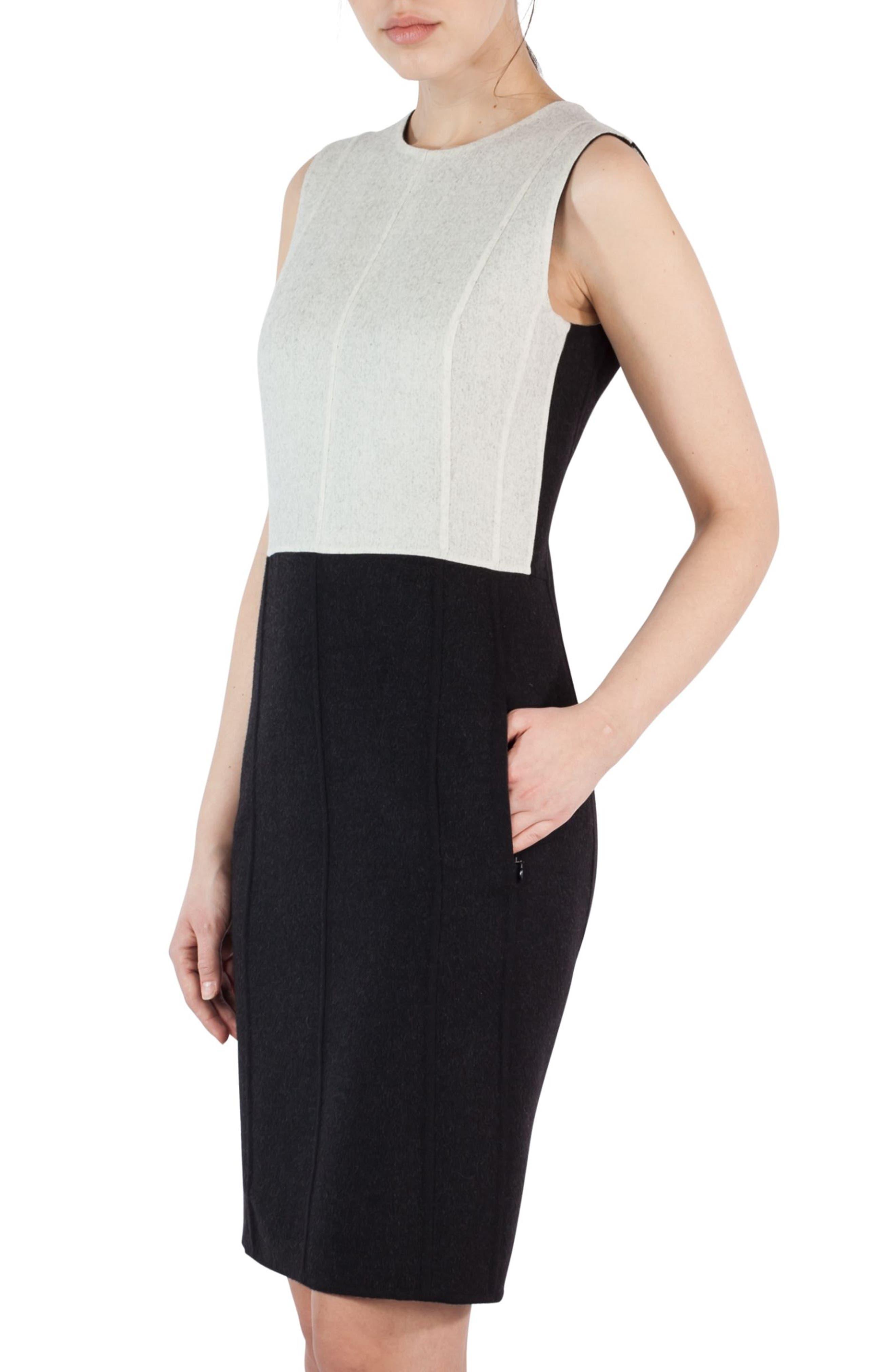 Double Face Wool Bicolor Reversible Dress,                             Alternate thumbnail 4, color,                             Black-Crema