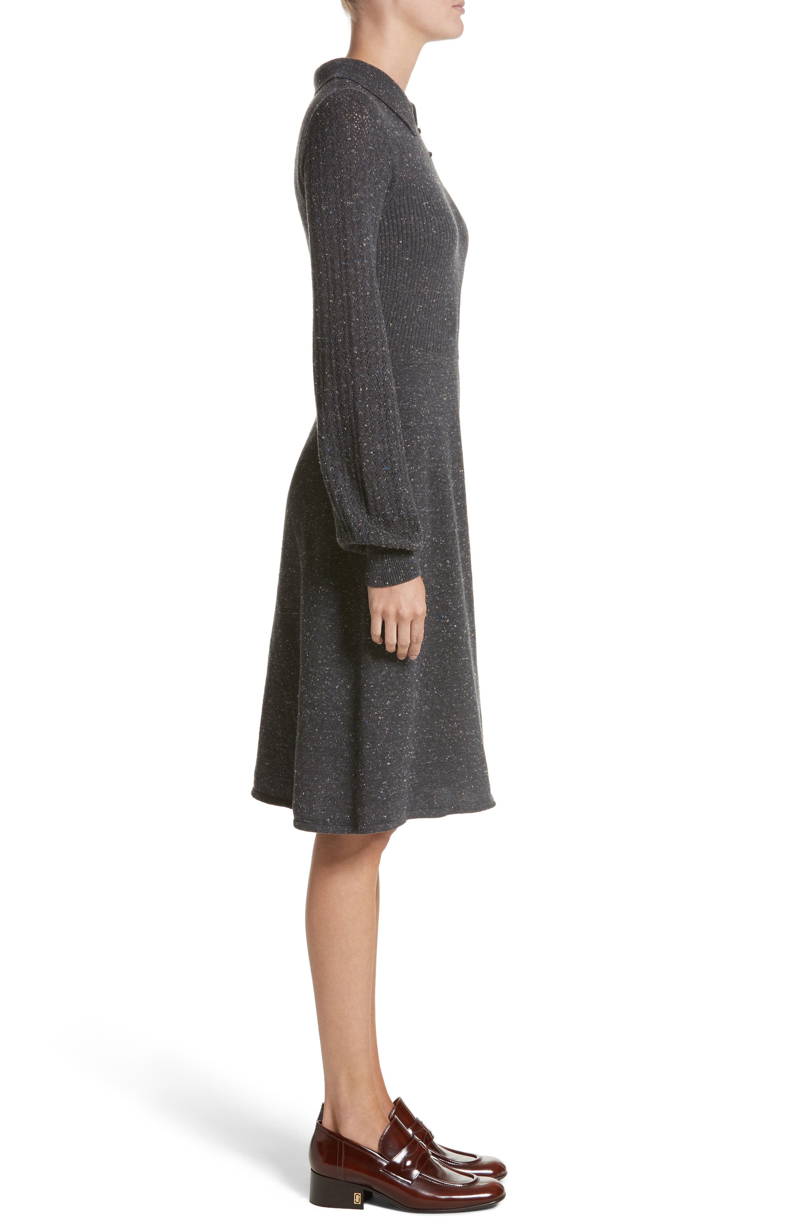 Knit Sweater Dress,                             Alternate thumbnail 3, color,                             Dark Grey