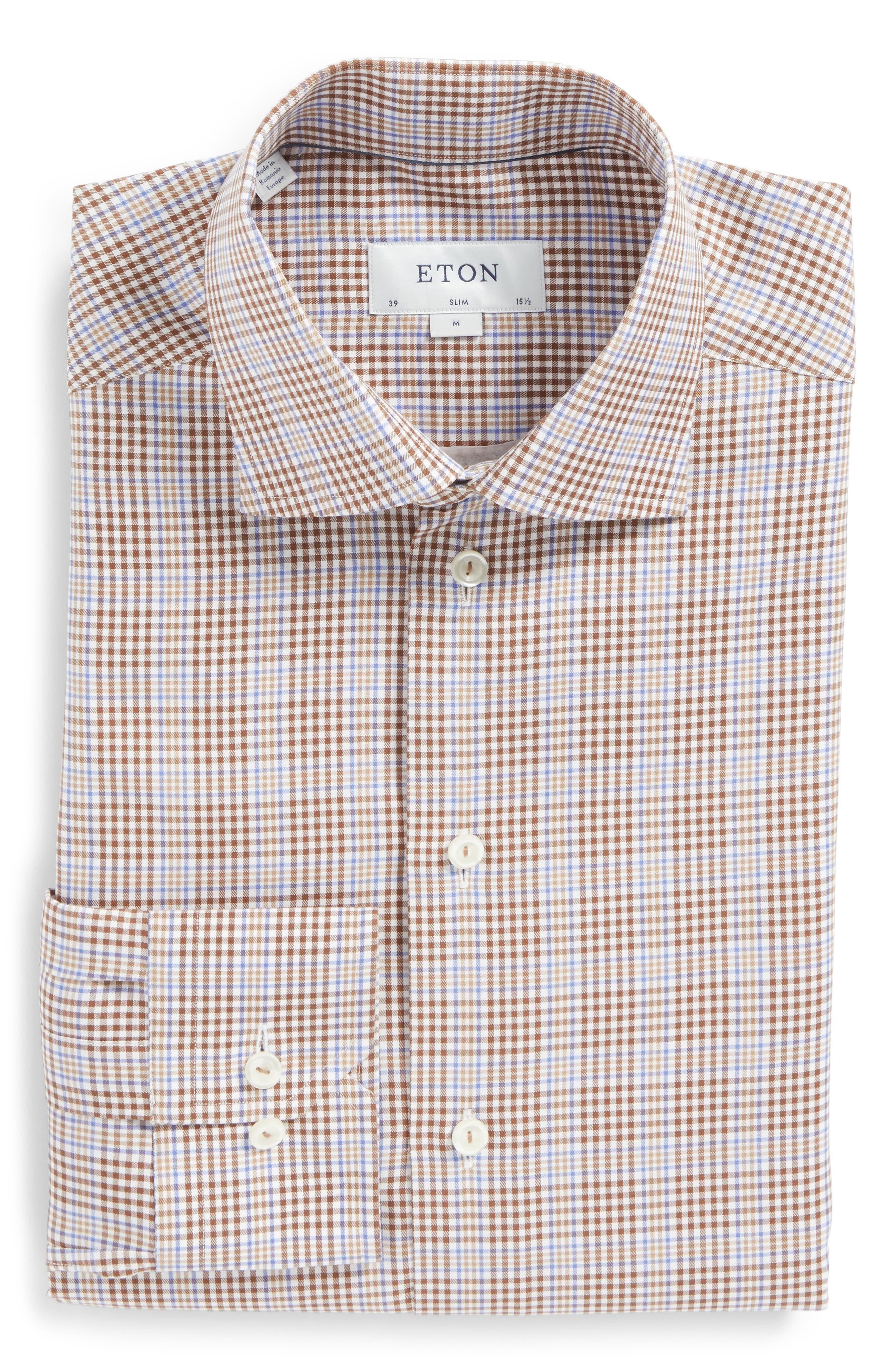 Slim Fit Plaid Dress Shirt,                         Main,                         color, Brown