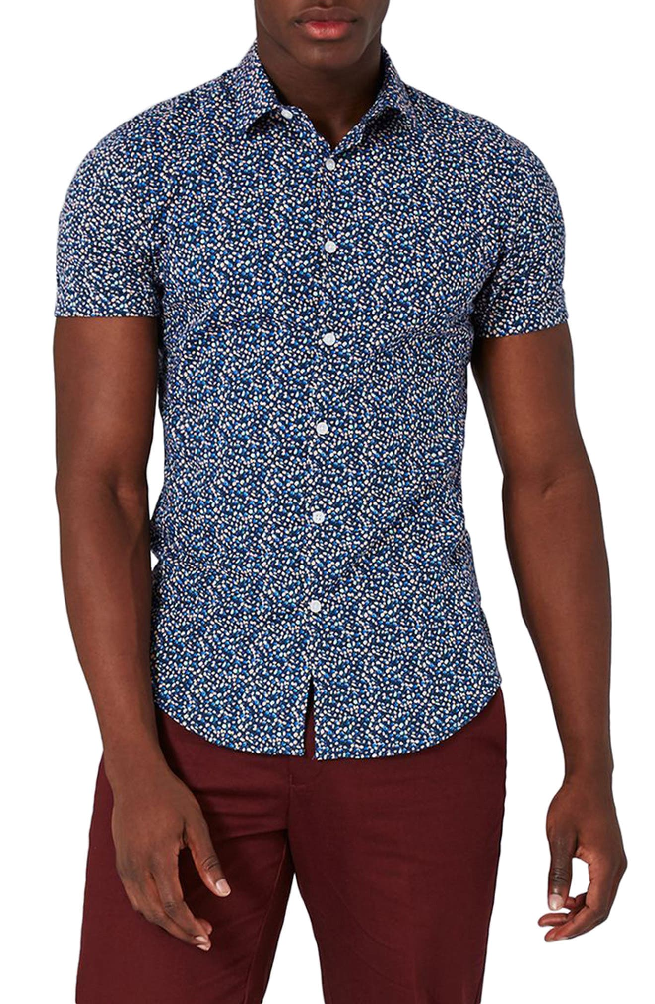 Alternate Image 1 Selected - Topman Blotch Print Shirt