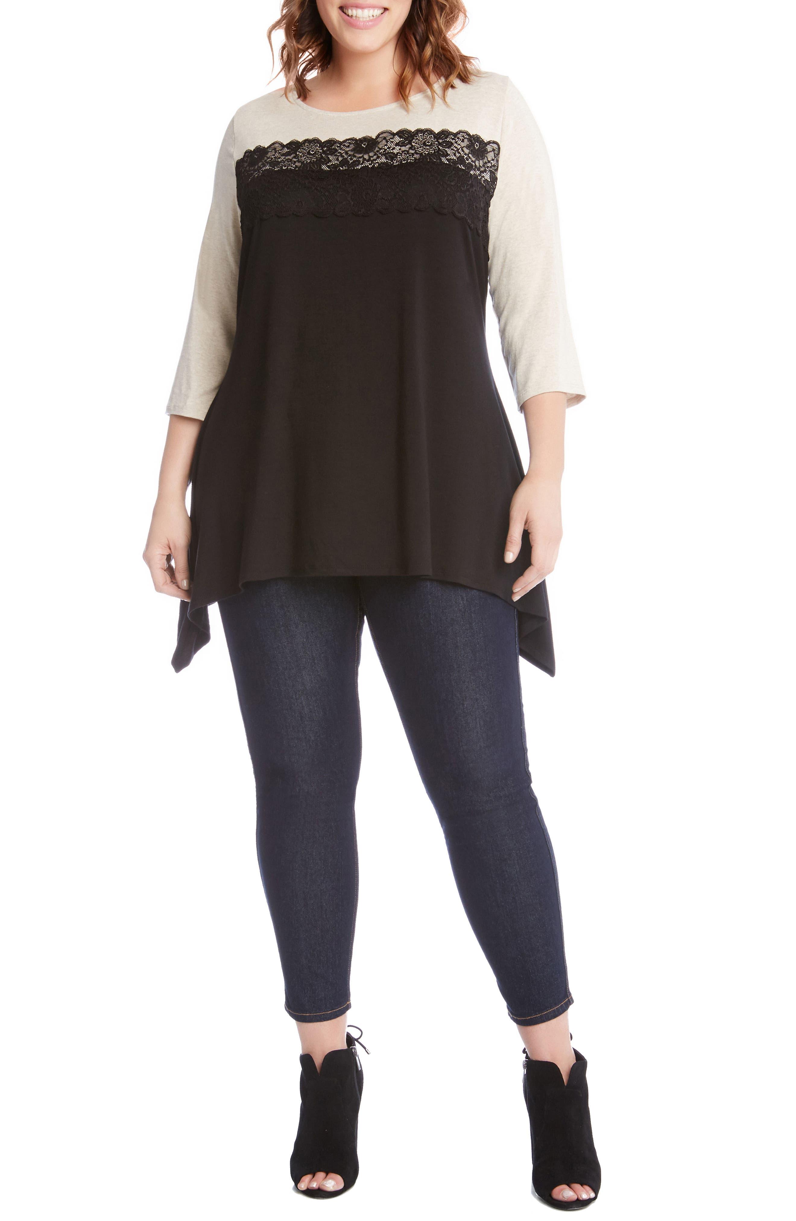 Alternate Image 3  - Karen Kane Lace Trim Handkerchief Hem Top (Plus Size)
