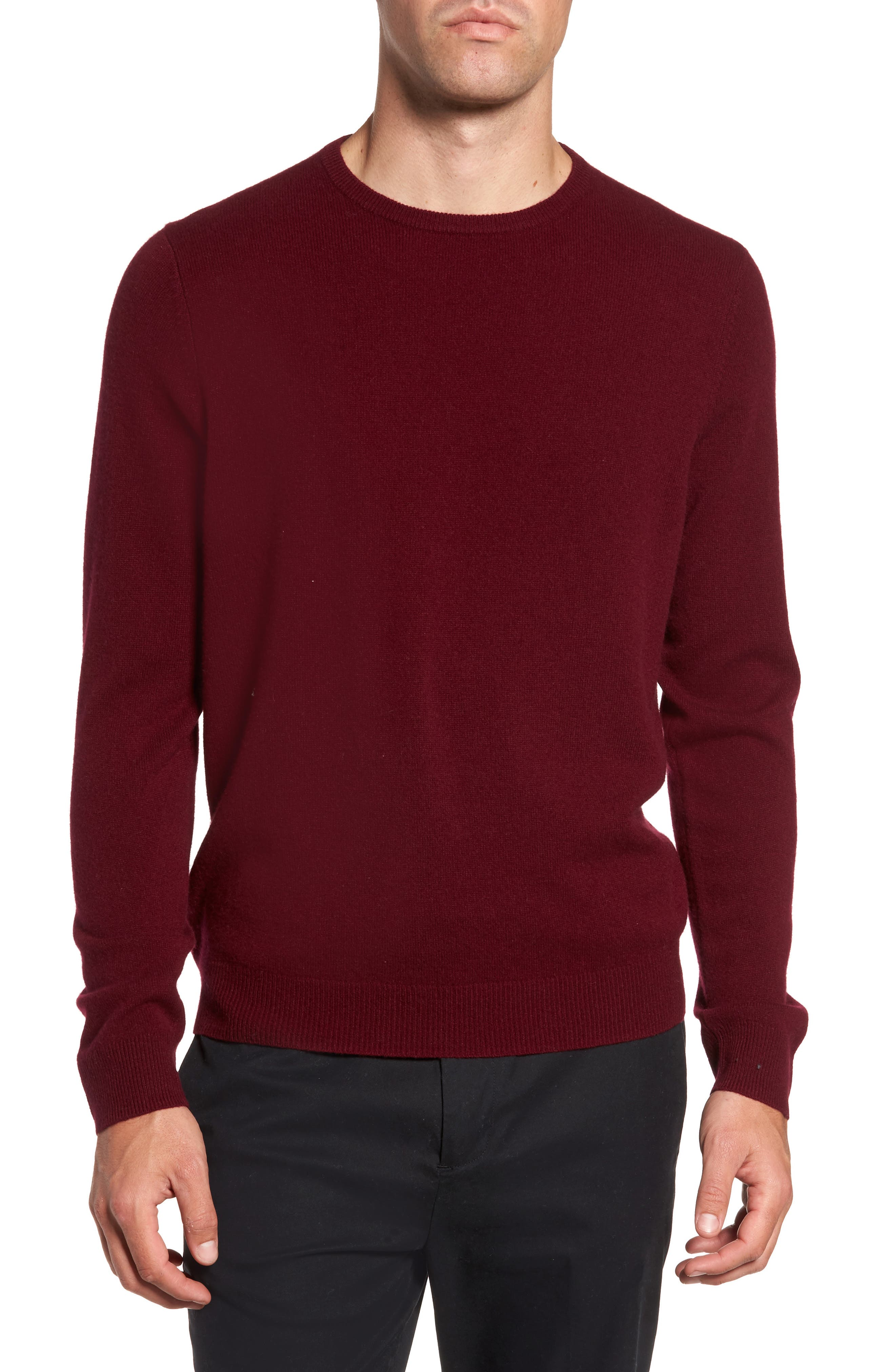 Cashmere Crewneck Sweater,                         Main,                         color, Burgundy London
