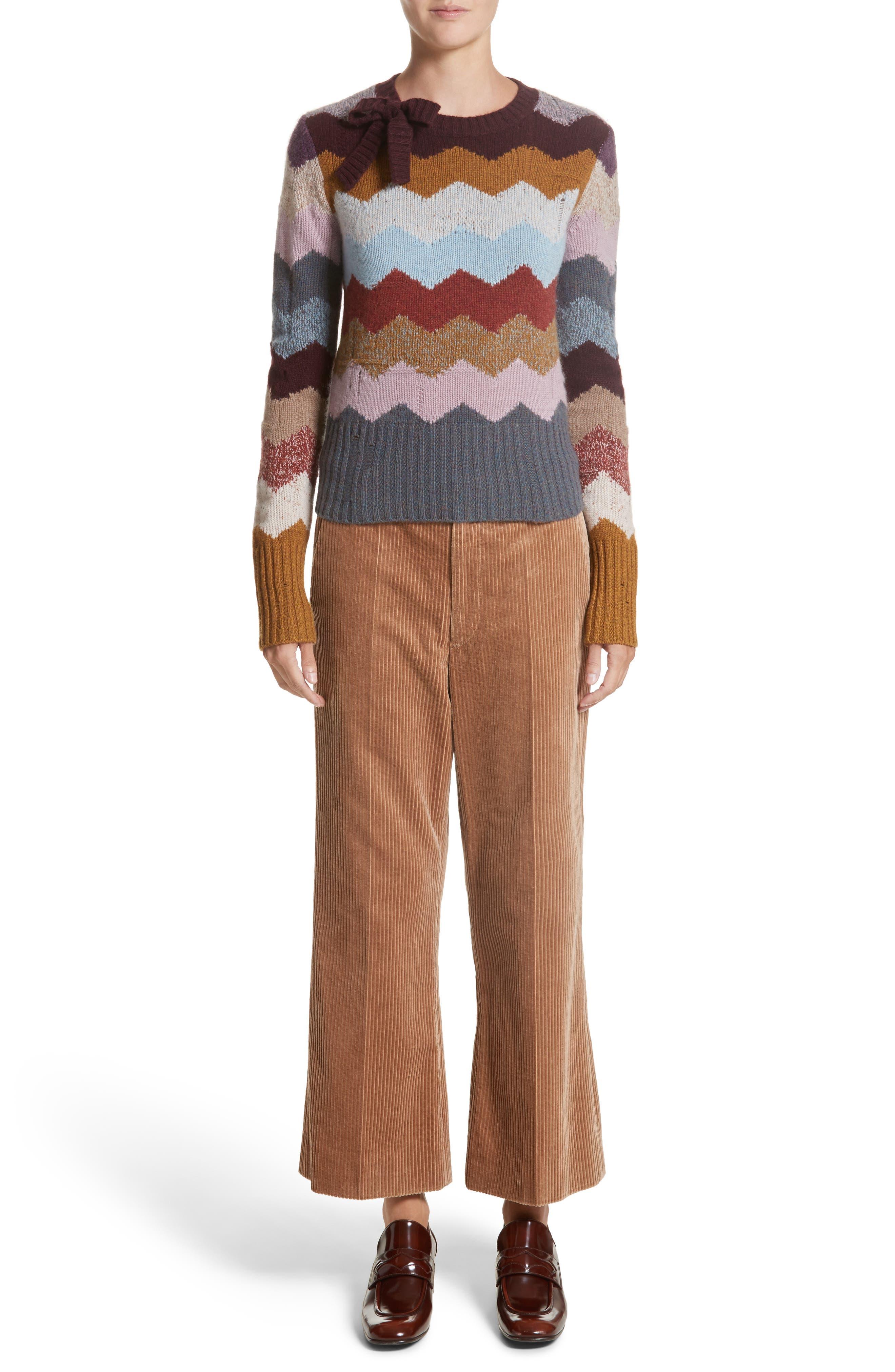 Corduroy Wide Leg Crop Pants,                             Alternate thumbnail 8, color,                             Sand