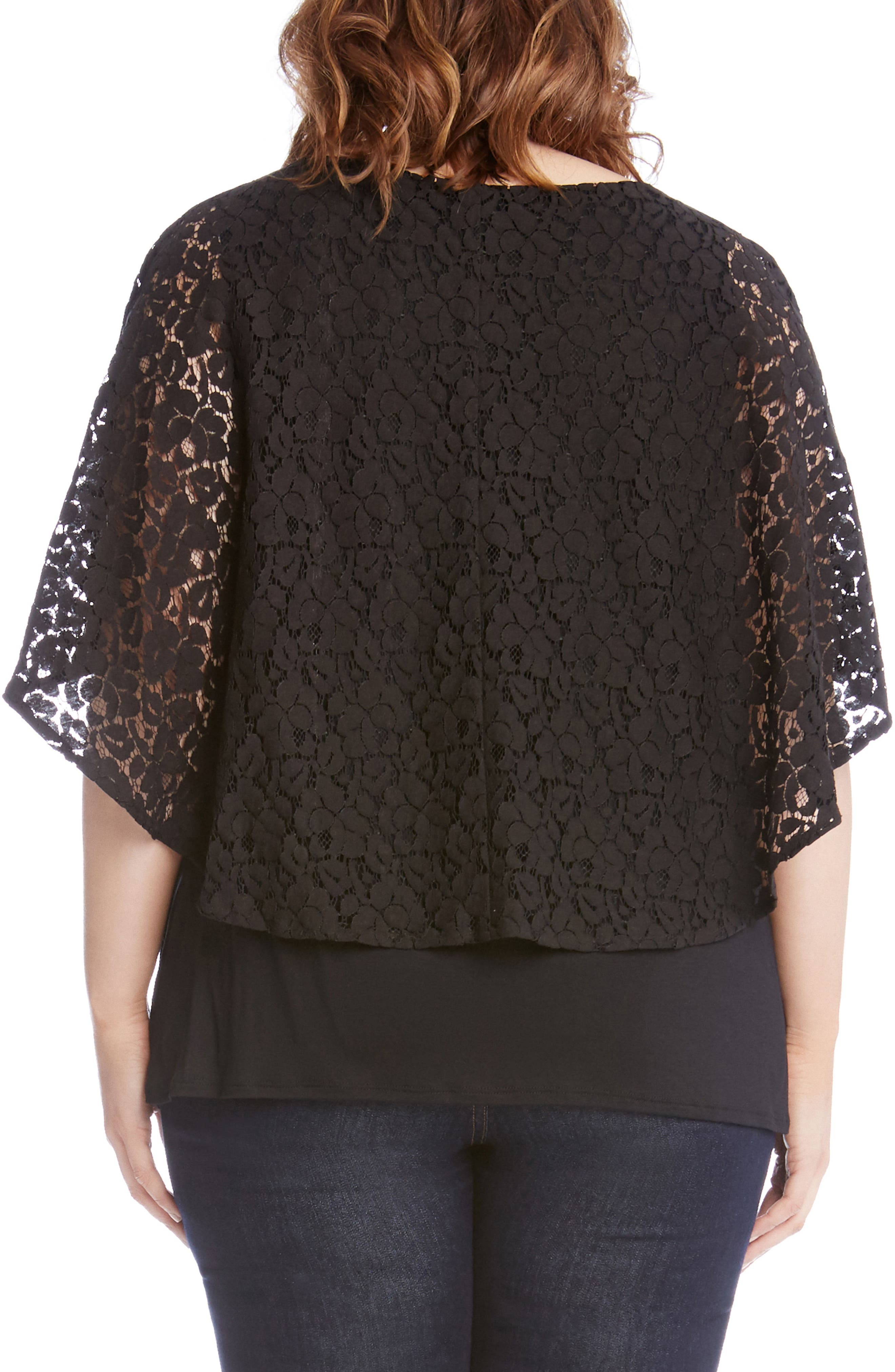 Lace Overlay Top,                             Alternate thumbnail 2, color,                             Black
