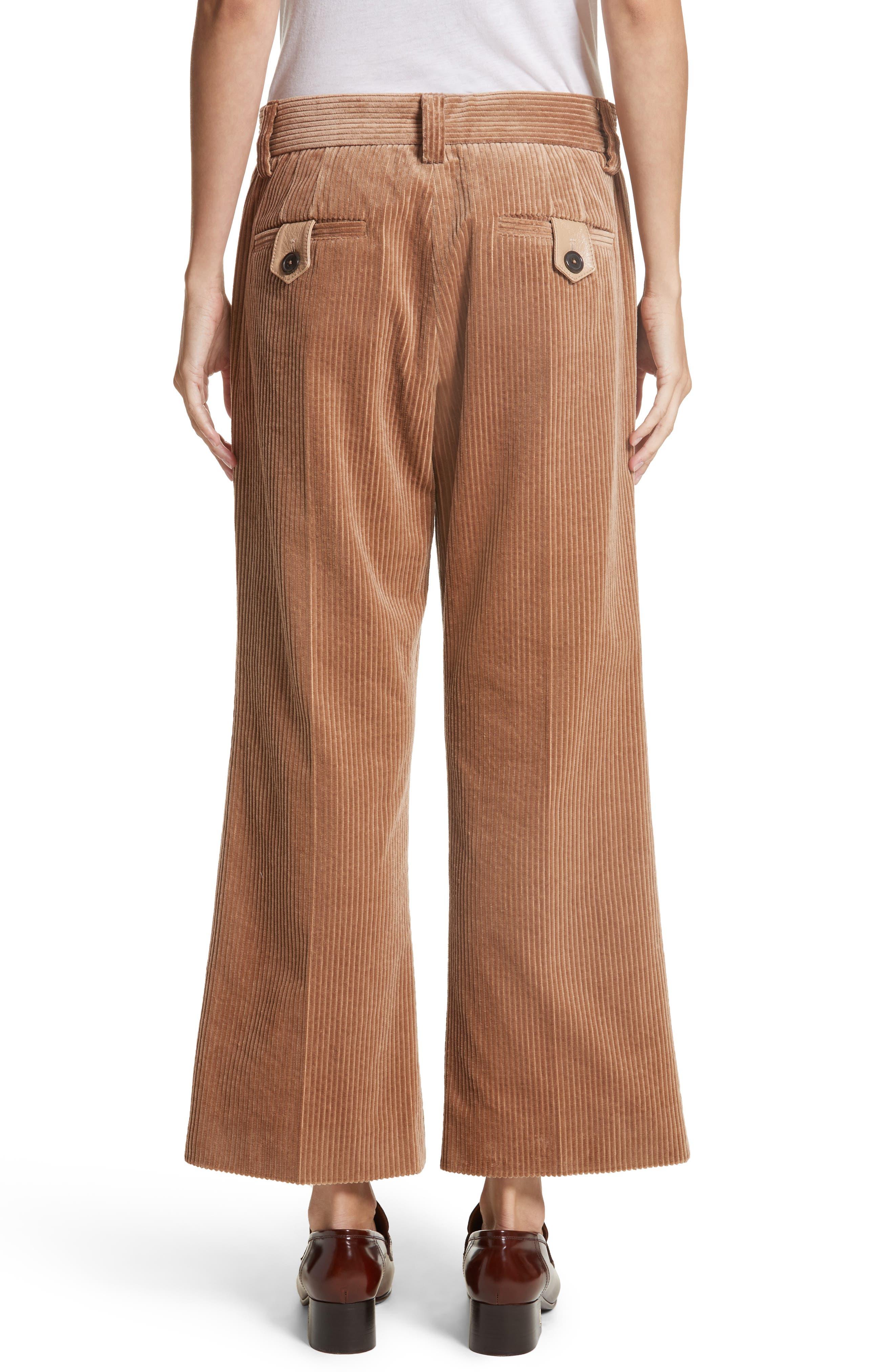 Corduroy Wide Leg Crop Pants,                             Alternate thumbnail 2, color,                             Sand
