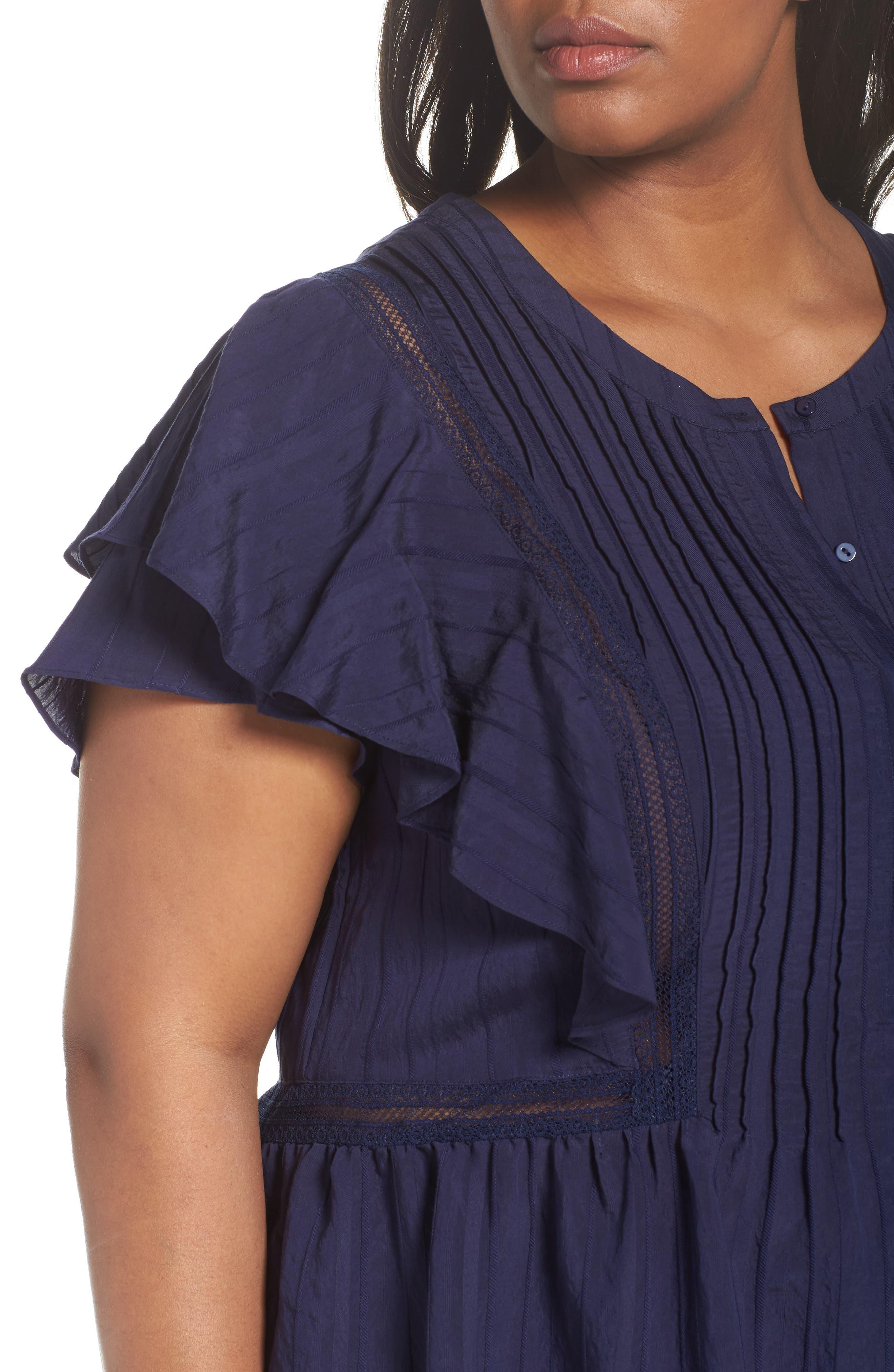 Alternate Image 4  - Sejour Lace Trim Pintuck Pleated Top (Plus Size)