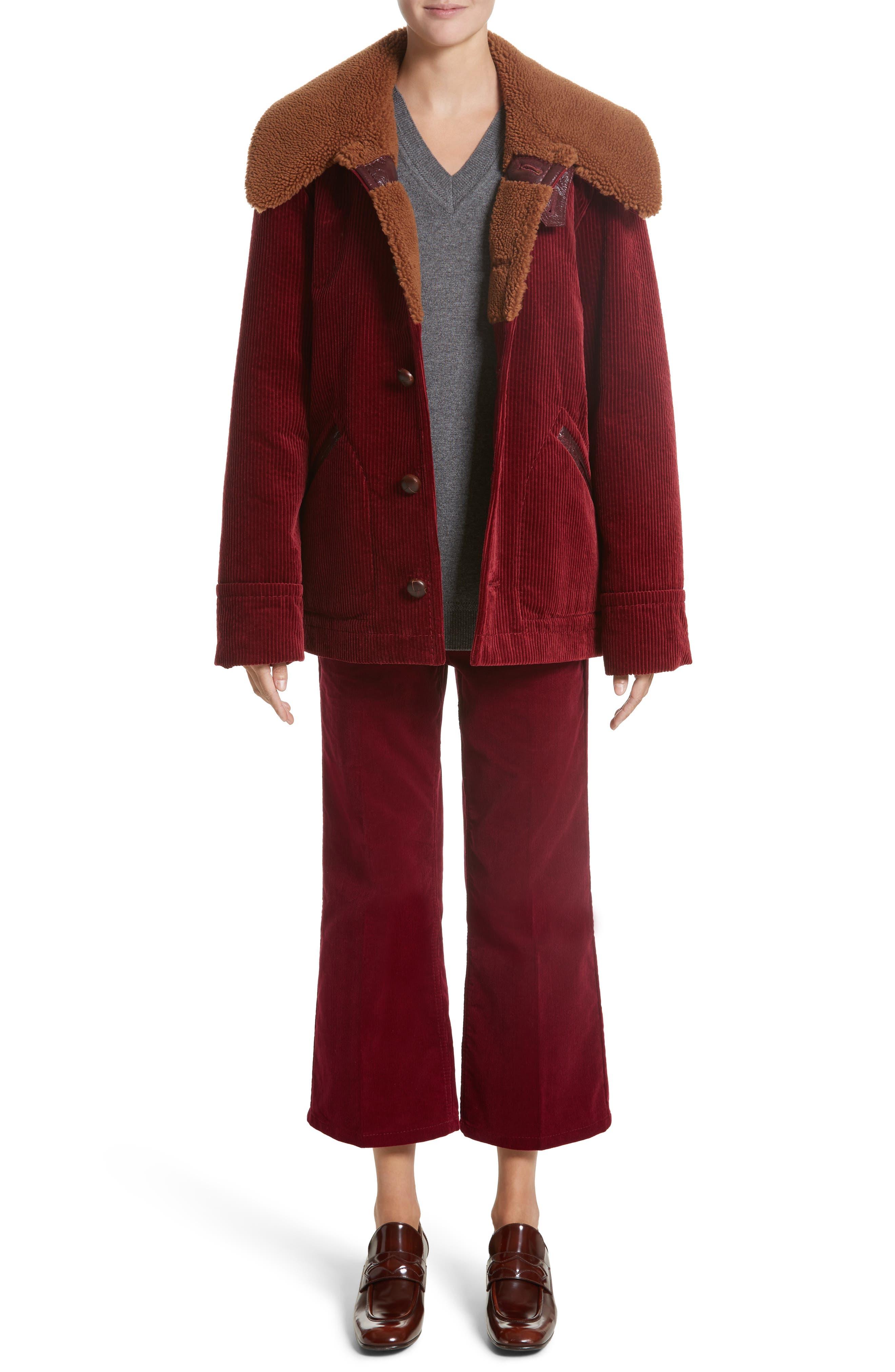 Corduroy Coat with Faux Shearling Collar,                             Alternate thumbnail 8, color,                             Bordeaux