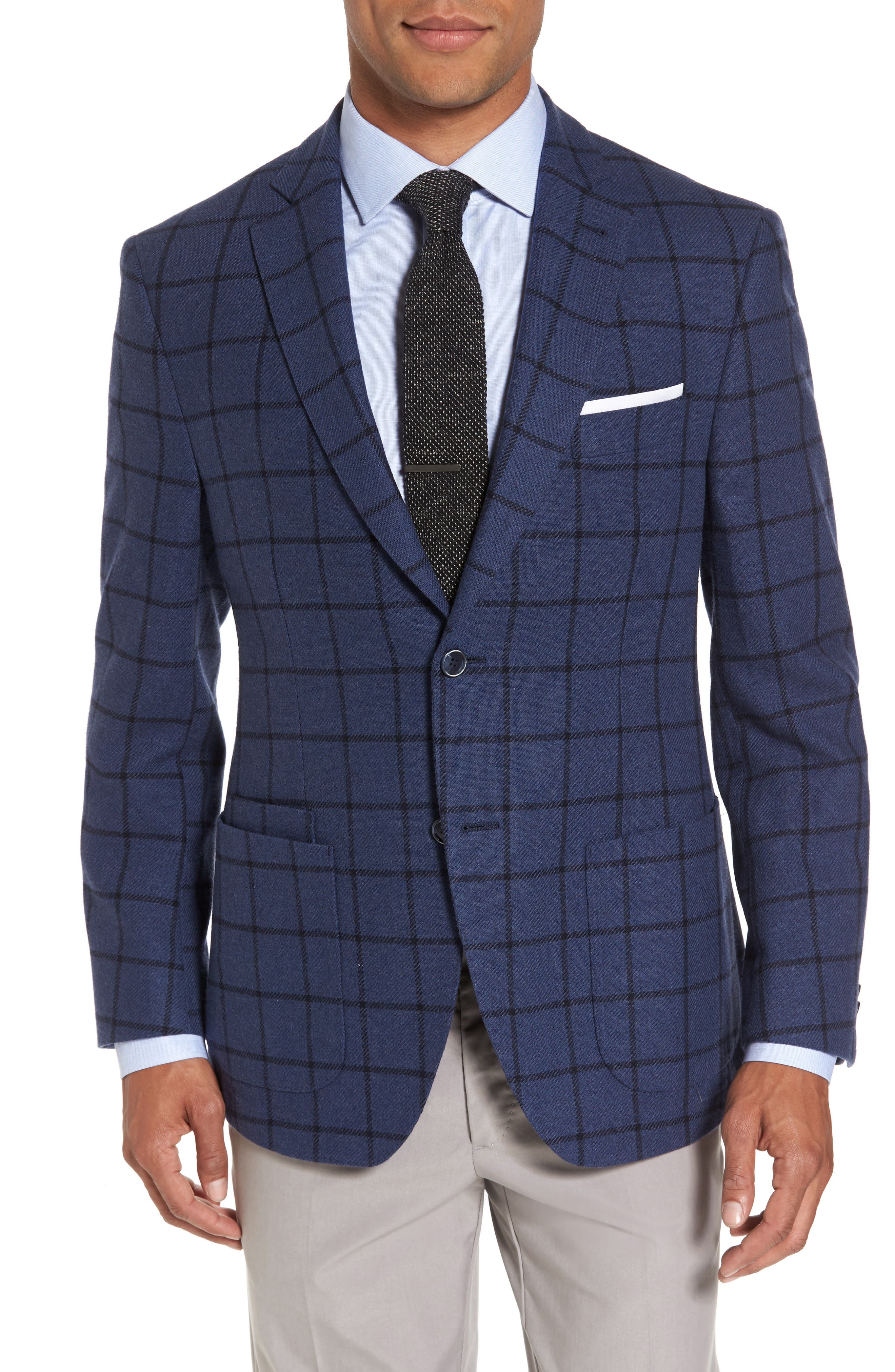 Alternate Image 1 Selected - JKT New York Trim Fit Windowpane Wool Blend Sport Coat