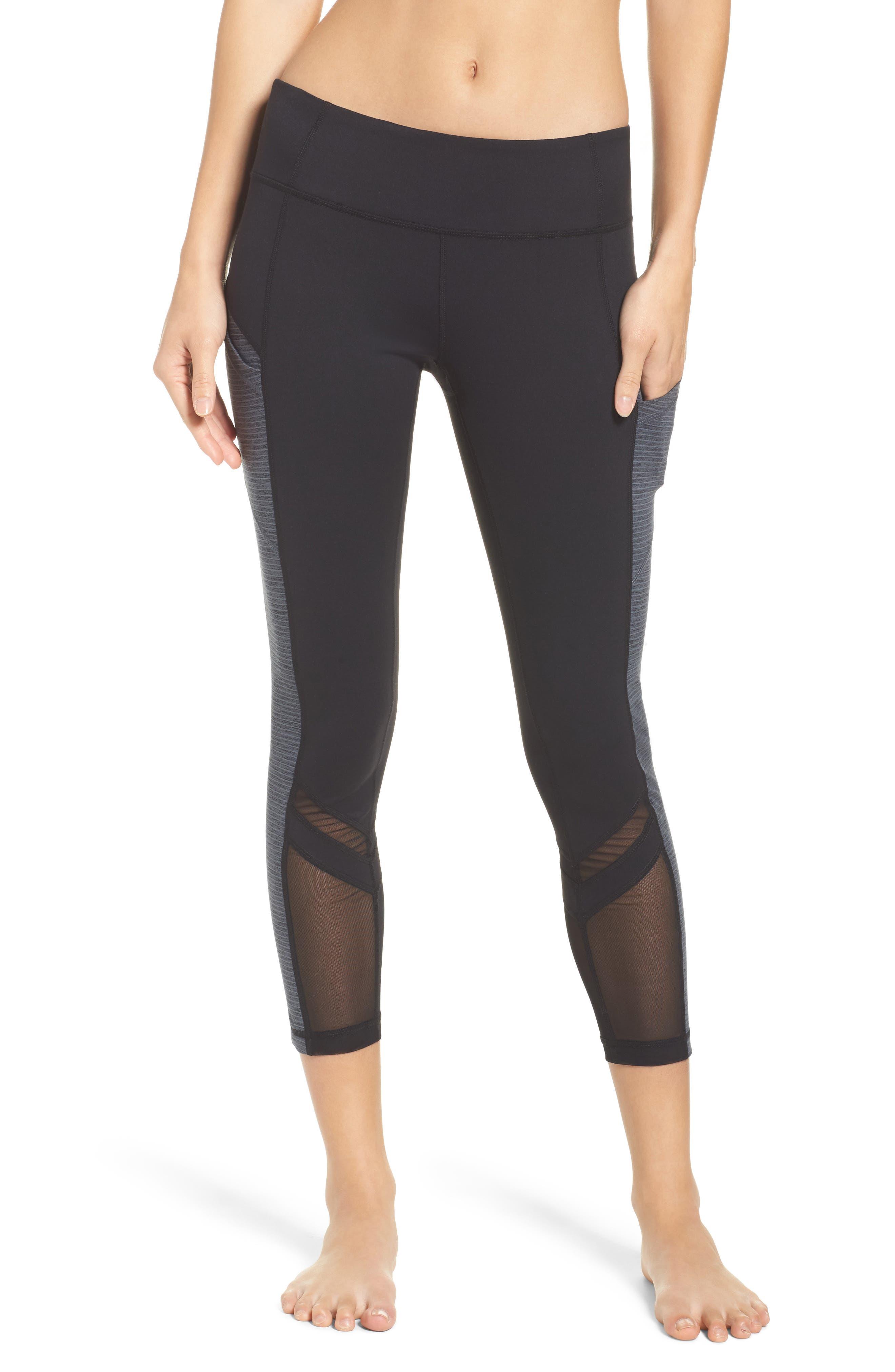 Block Midi Leggings,                         Main,                         color, Black