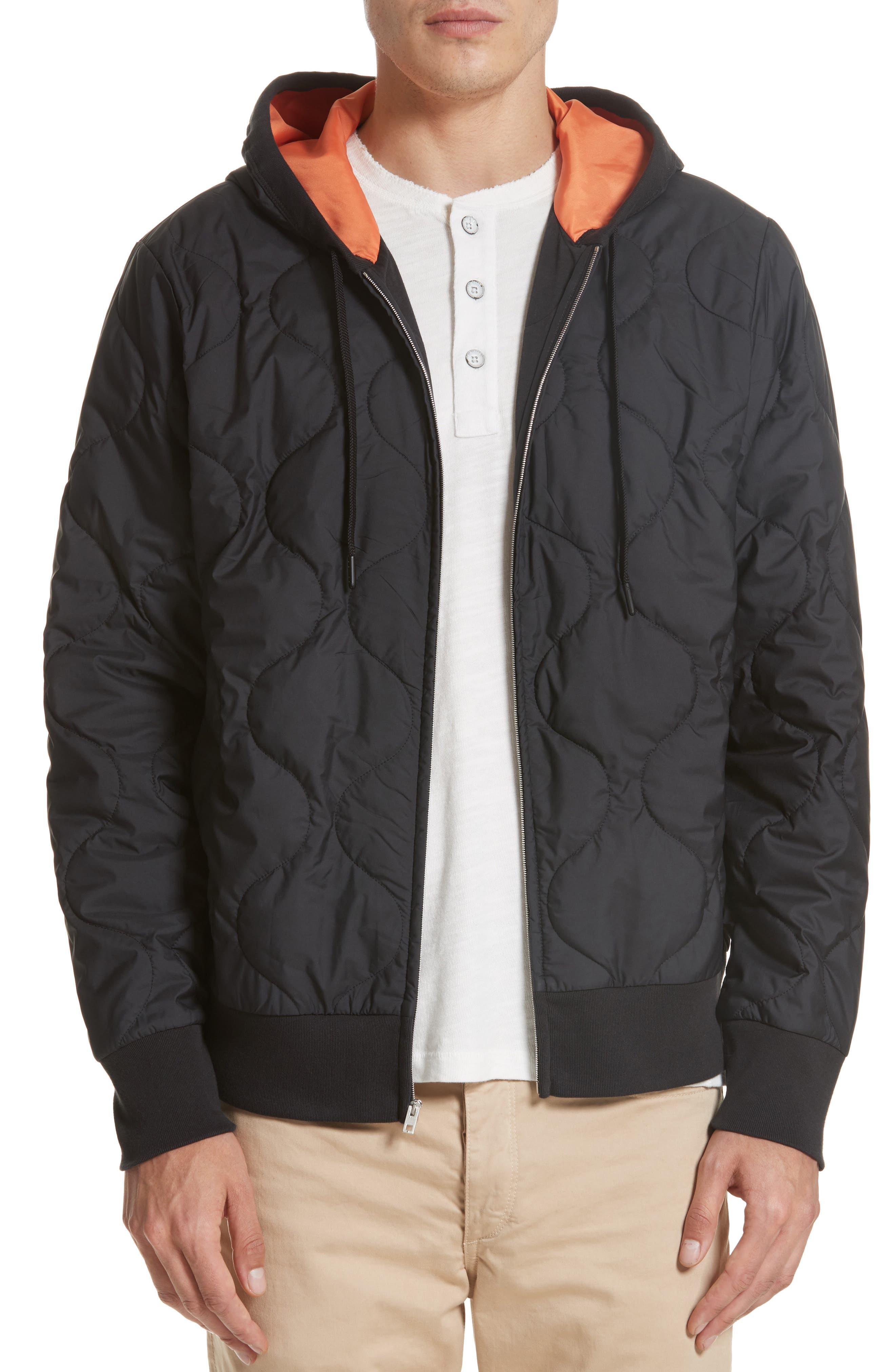 Quilted Zip Hoodie,                         Main,                         color, Black