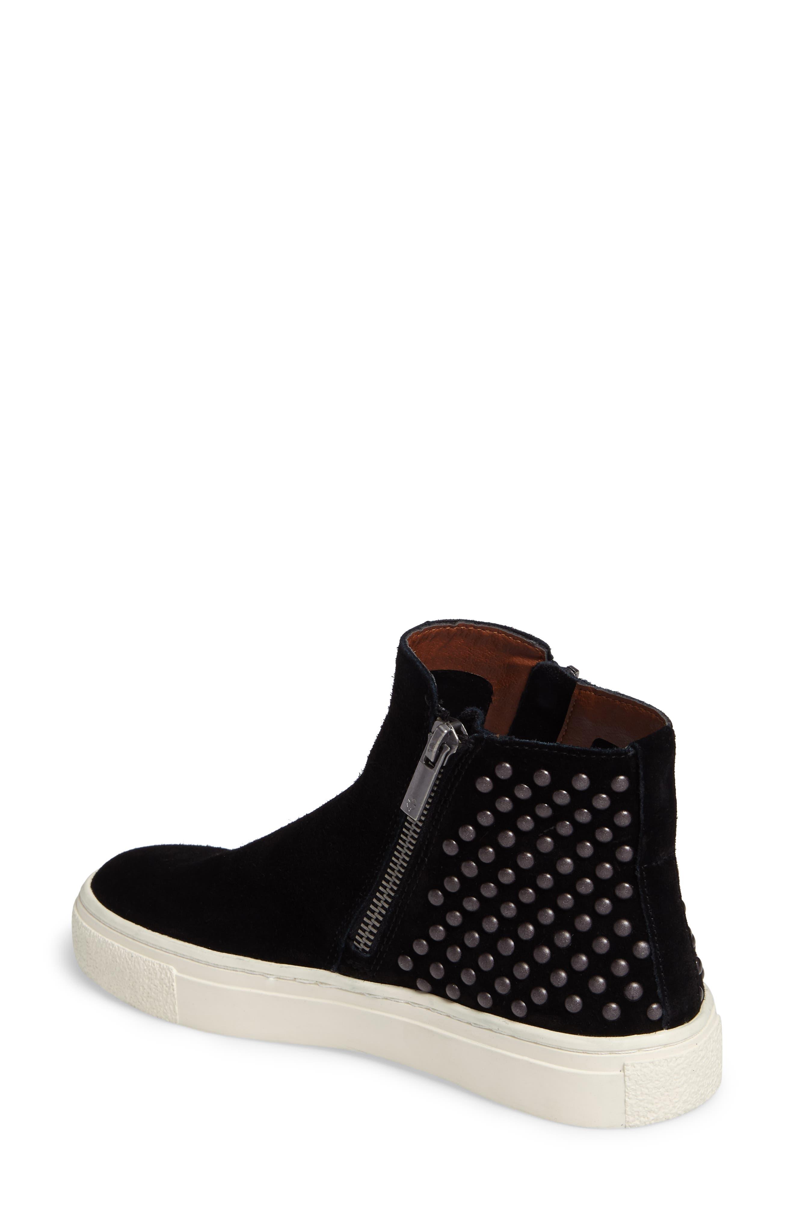 Bayleah High Top Sneaker,                             Alternate thumbnail 2, color,                             Black Suede