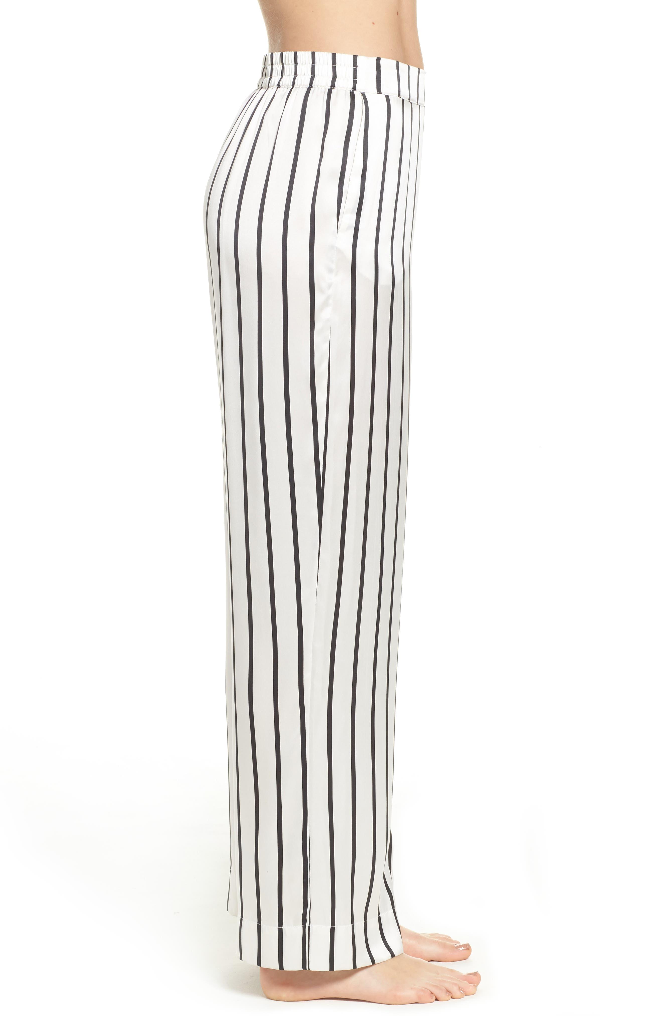 Stripe Silk Pajama Pants,                             Alternate thumbnail 3, color,                             Jet Black Stripe