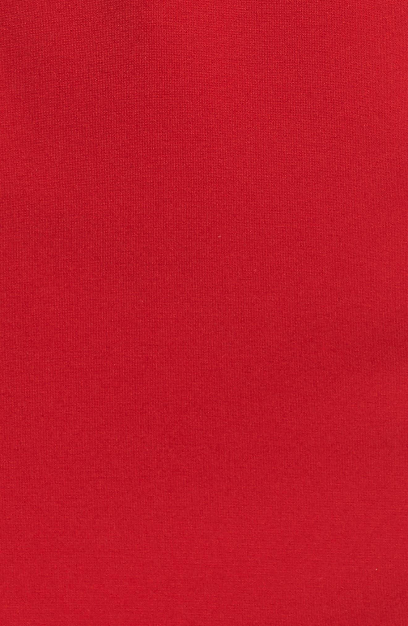 Velvet Trim Crepe Sheath Dress,                             Alternate thumbnail 5, color,                             Scarlet