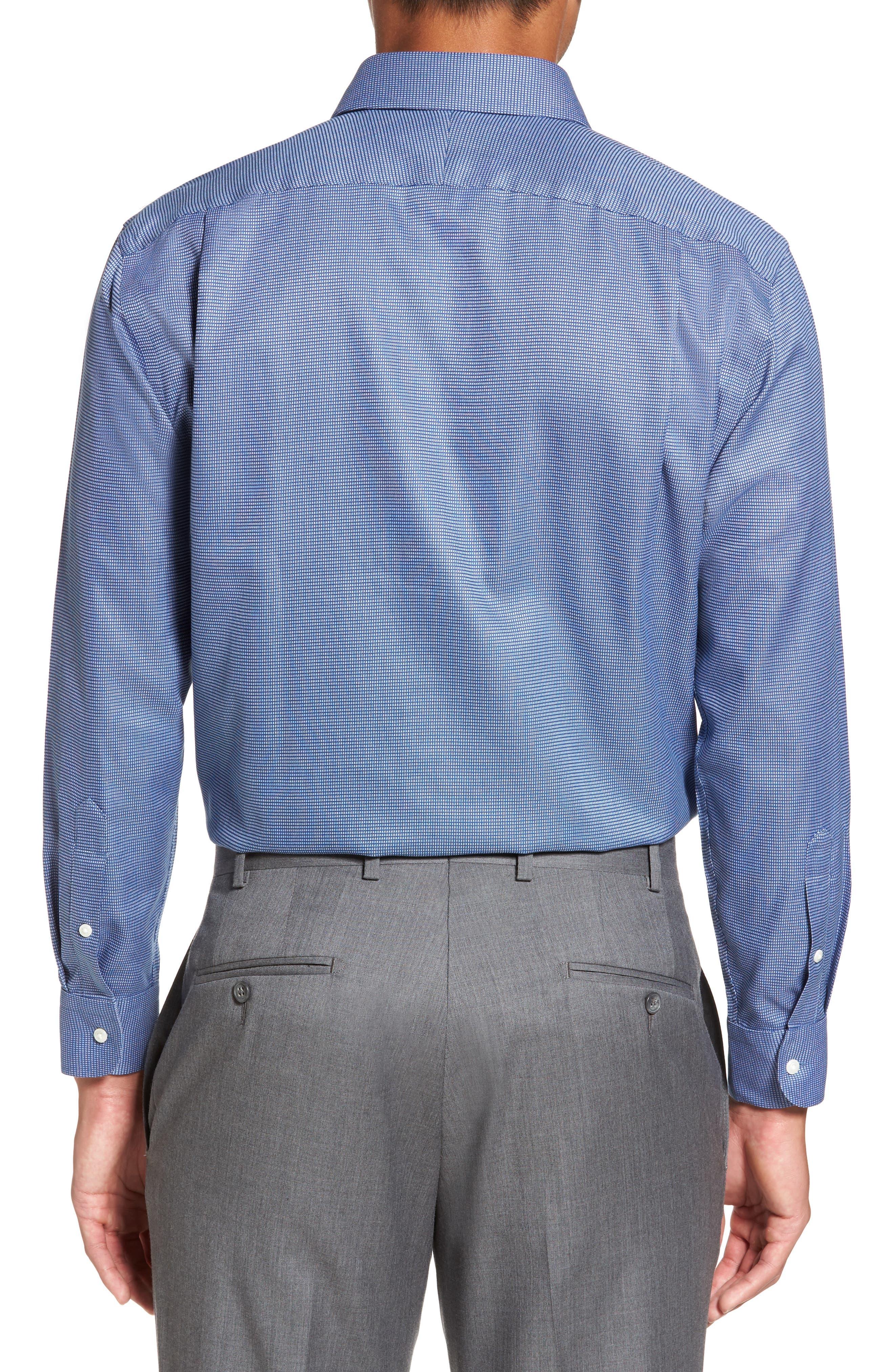 Smartcare<sup>™</sup> Trim Fit Check Dress Shirt,                             Alternate thumbnail 3, color,                             Blue Canal