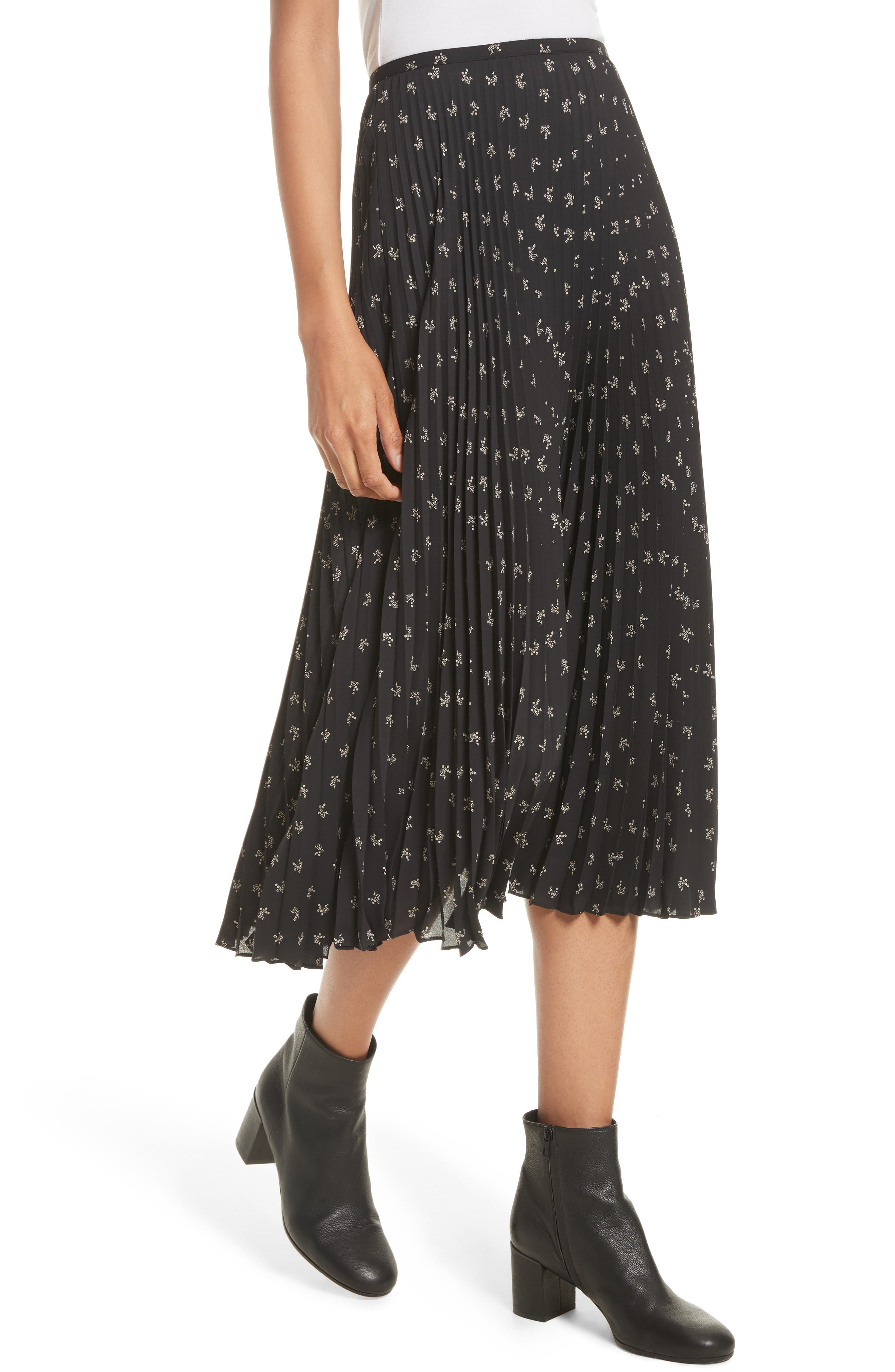 Alternate Image 4  - Vince Tossed Ditsy Floral Pleated Skirt