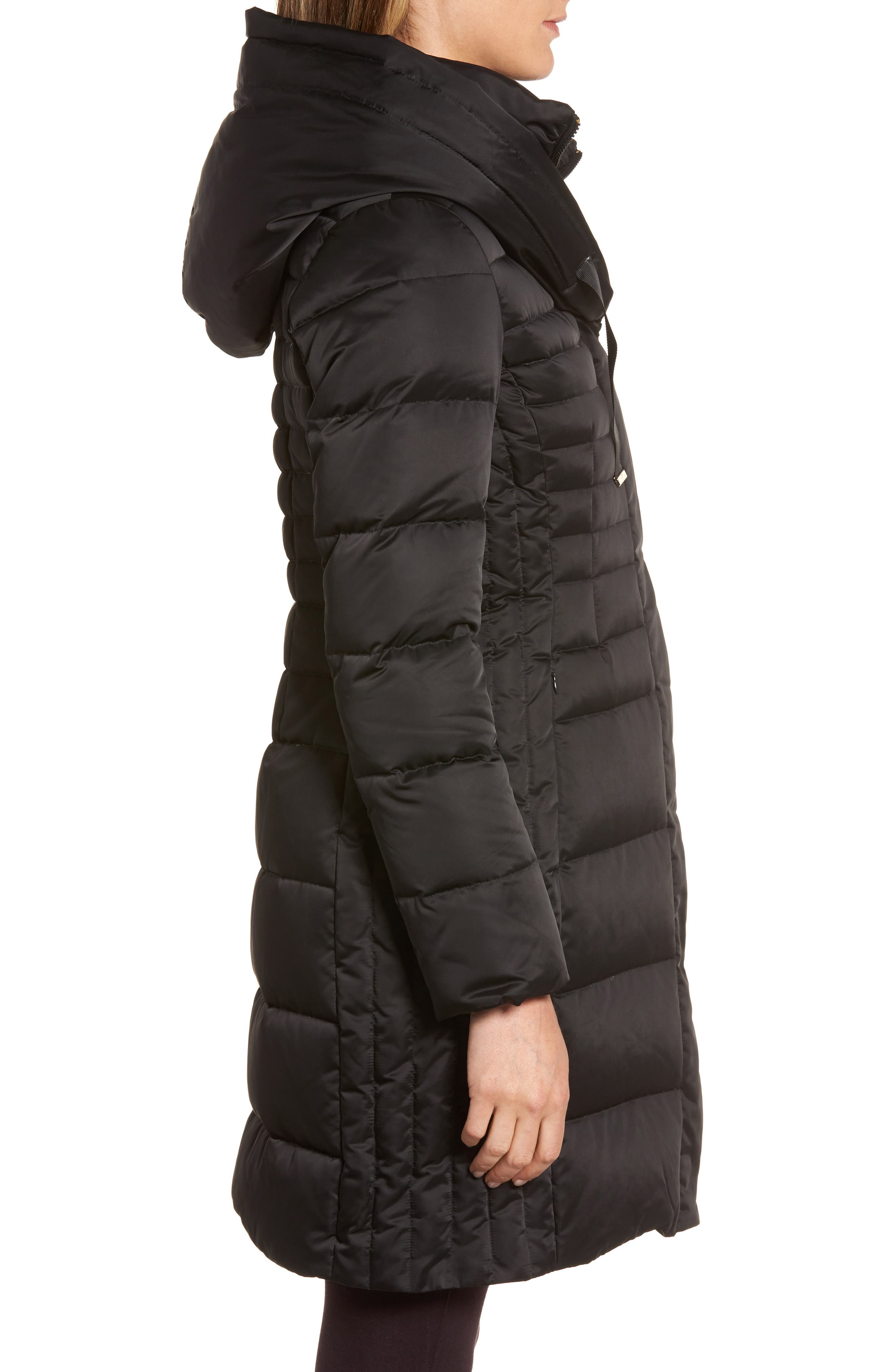 Mia Down & Feather Fill Coat,                             Alternate thumbnail 3, color,                             Black