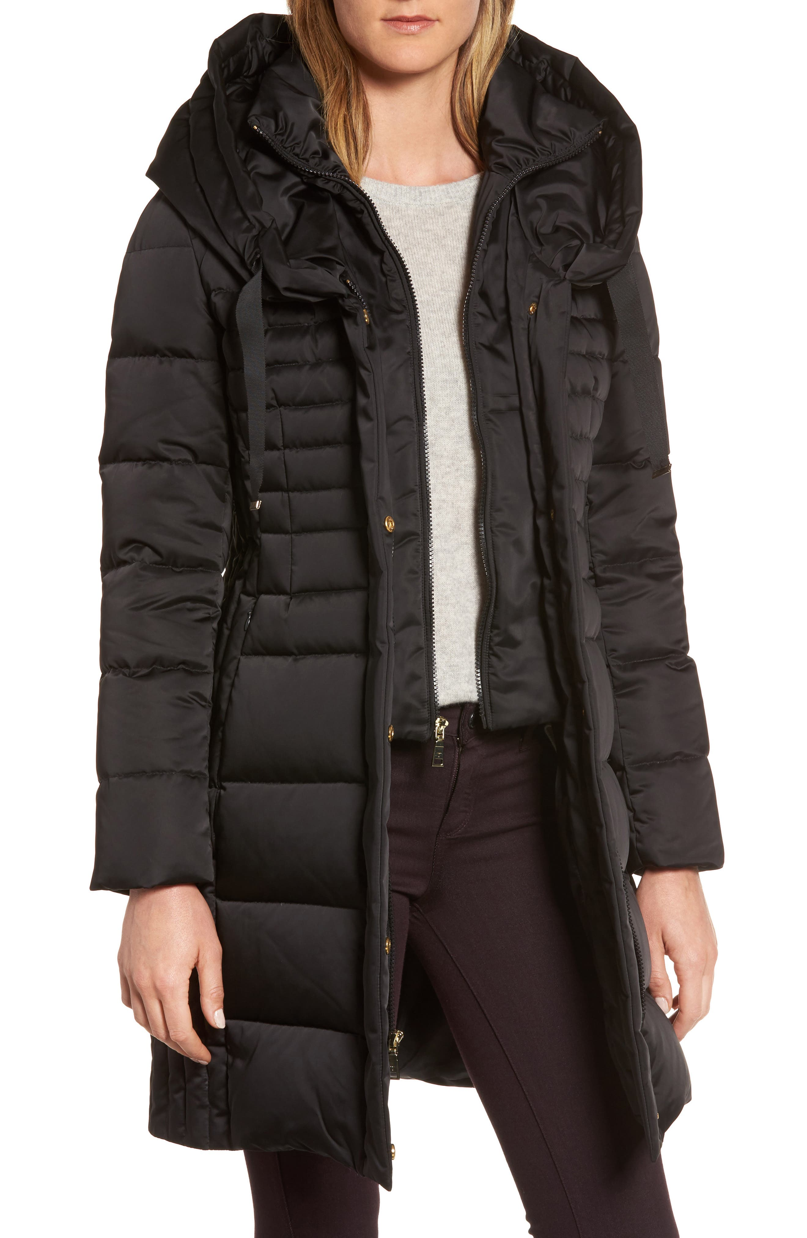 Mia Down & Feather Fill Coat,                             Main thumbnail 1, color,                             Black