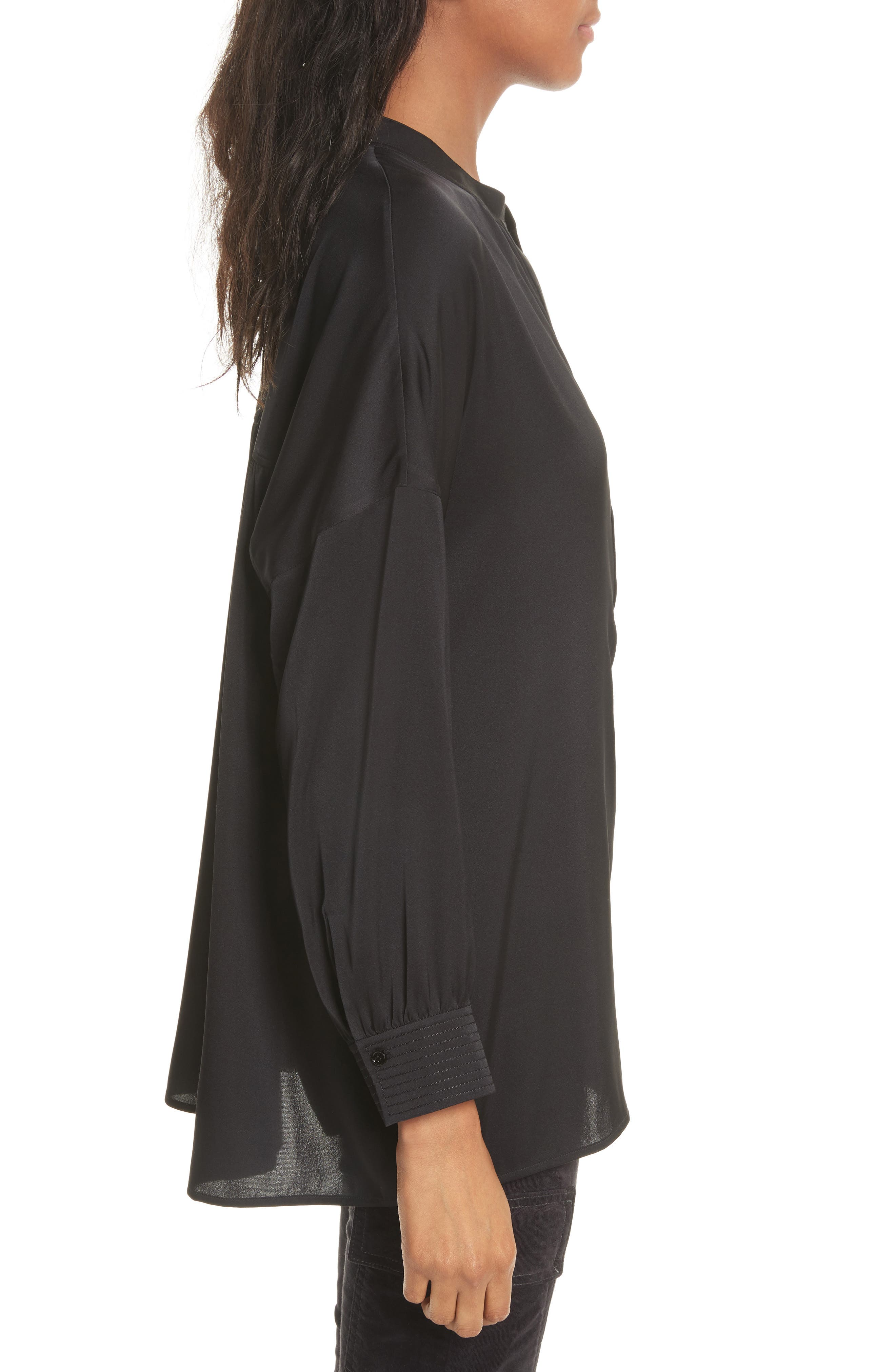 Shirred Stretch Silk Blouse,                             Alternate thumbnail 4, color,                             Black