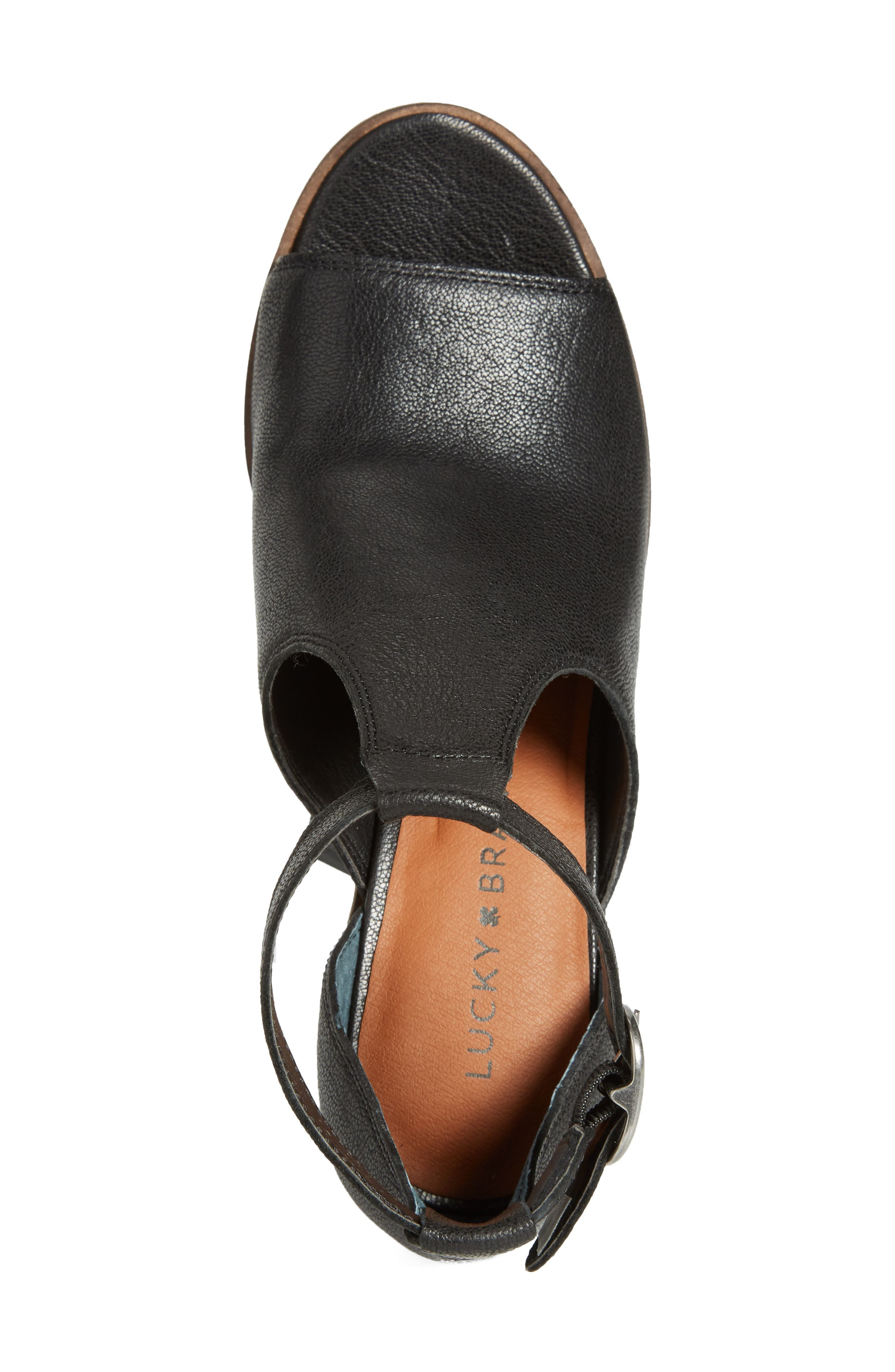 Kadian Block Heel Sandal,                             Alternate thumbnail 5, color,                             Black Leather
