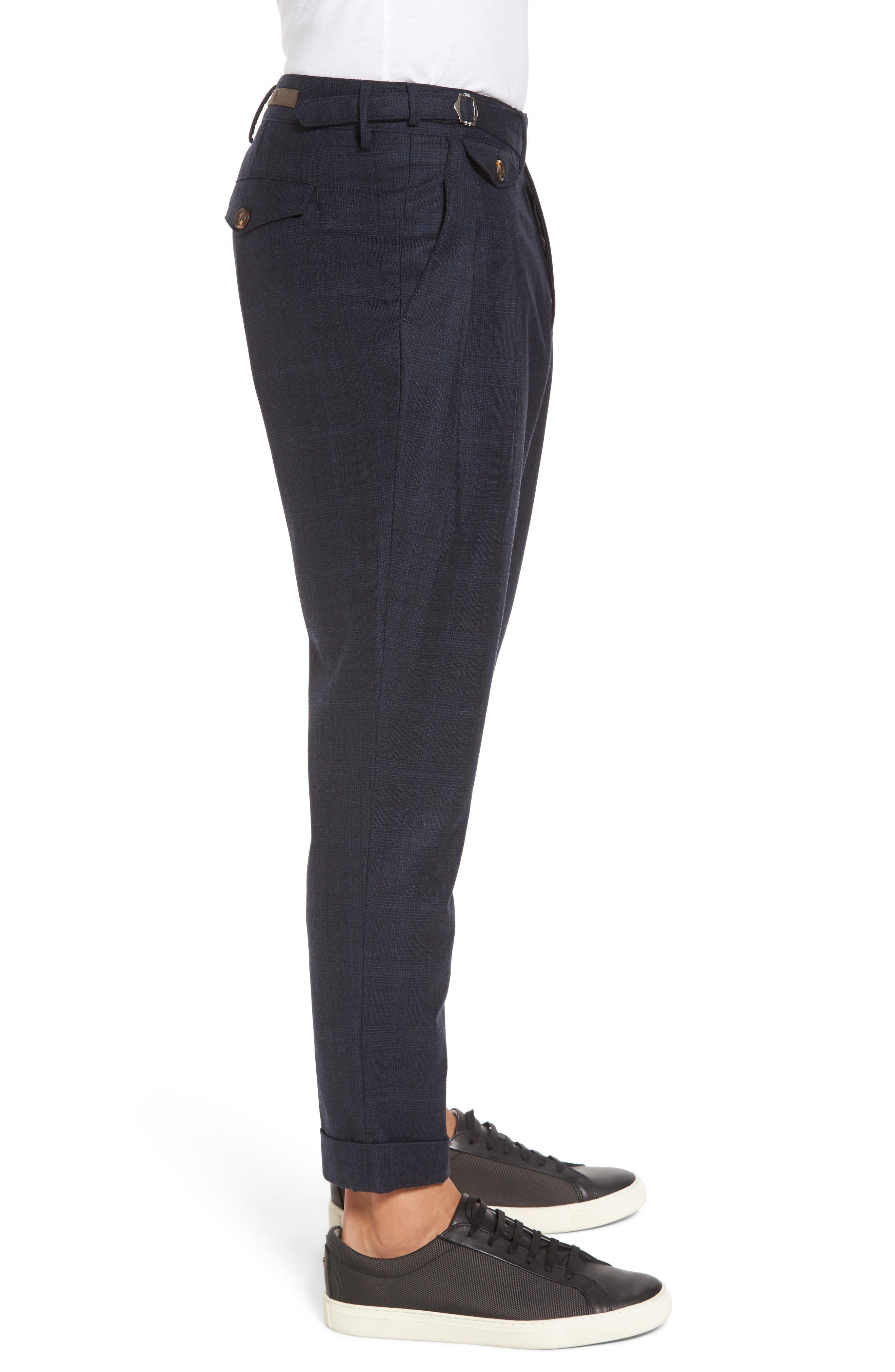 Glen Plaid Pleat Front Wool Pants,                             Alternate thumbnail 3, color,                             Navy