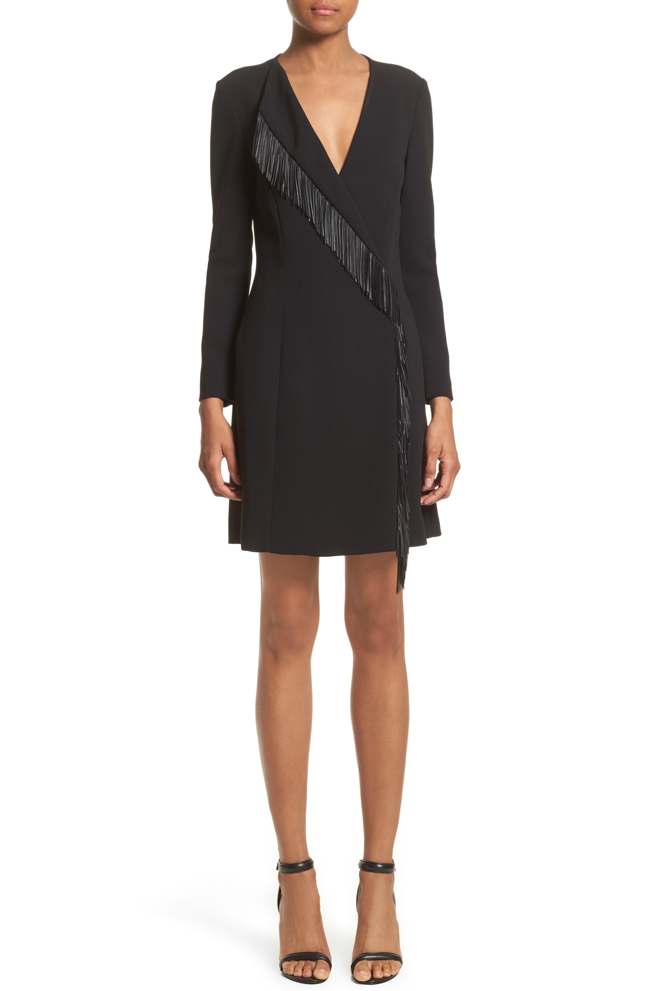 Leather Fringe Wrap Dress,                         Main,                         color, Black