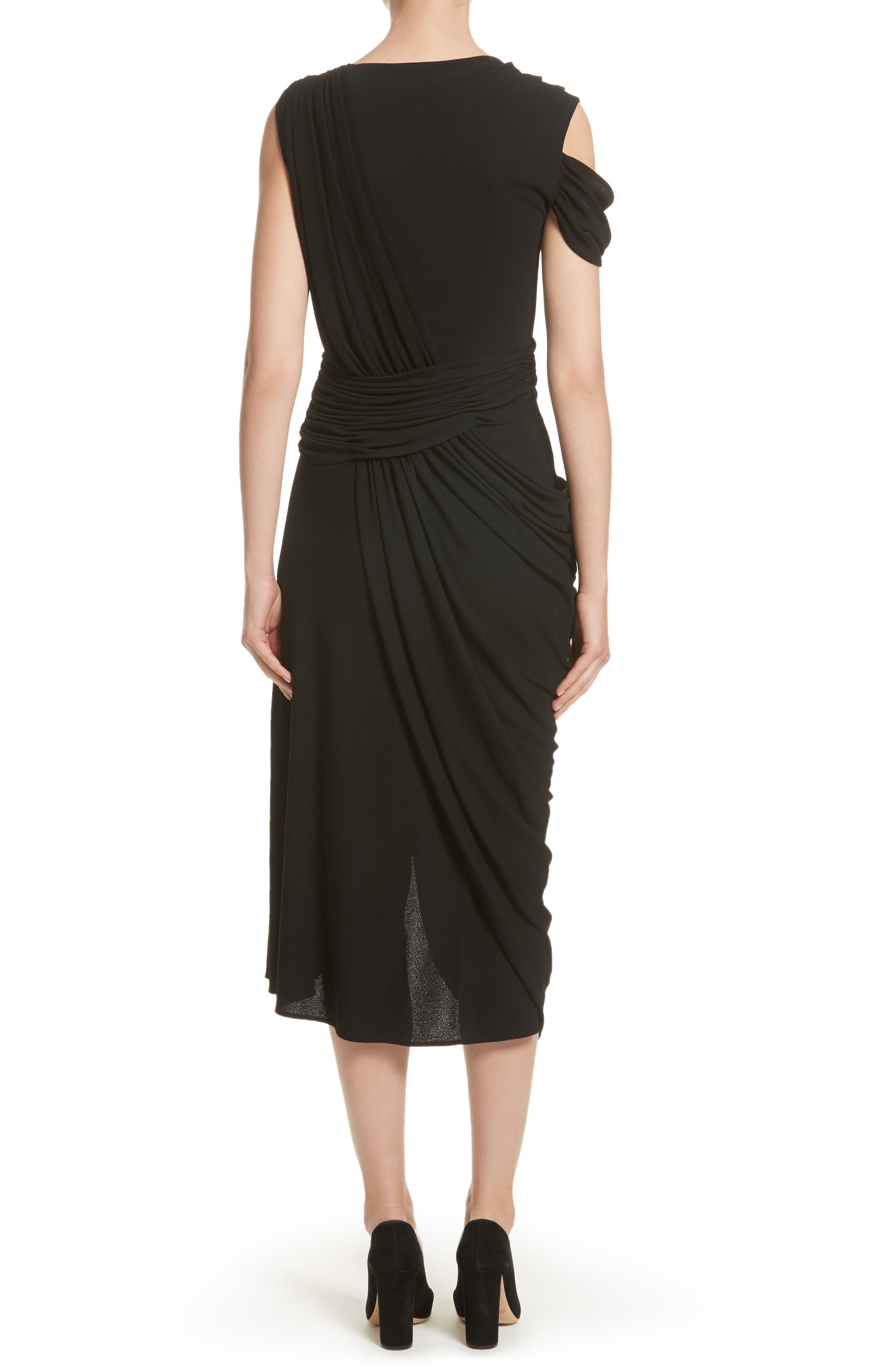 Draped Jersey Cocktail Dress,                             Alternate thumbnail 2, color,                             Black