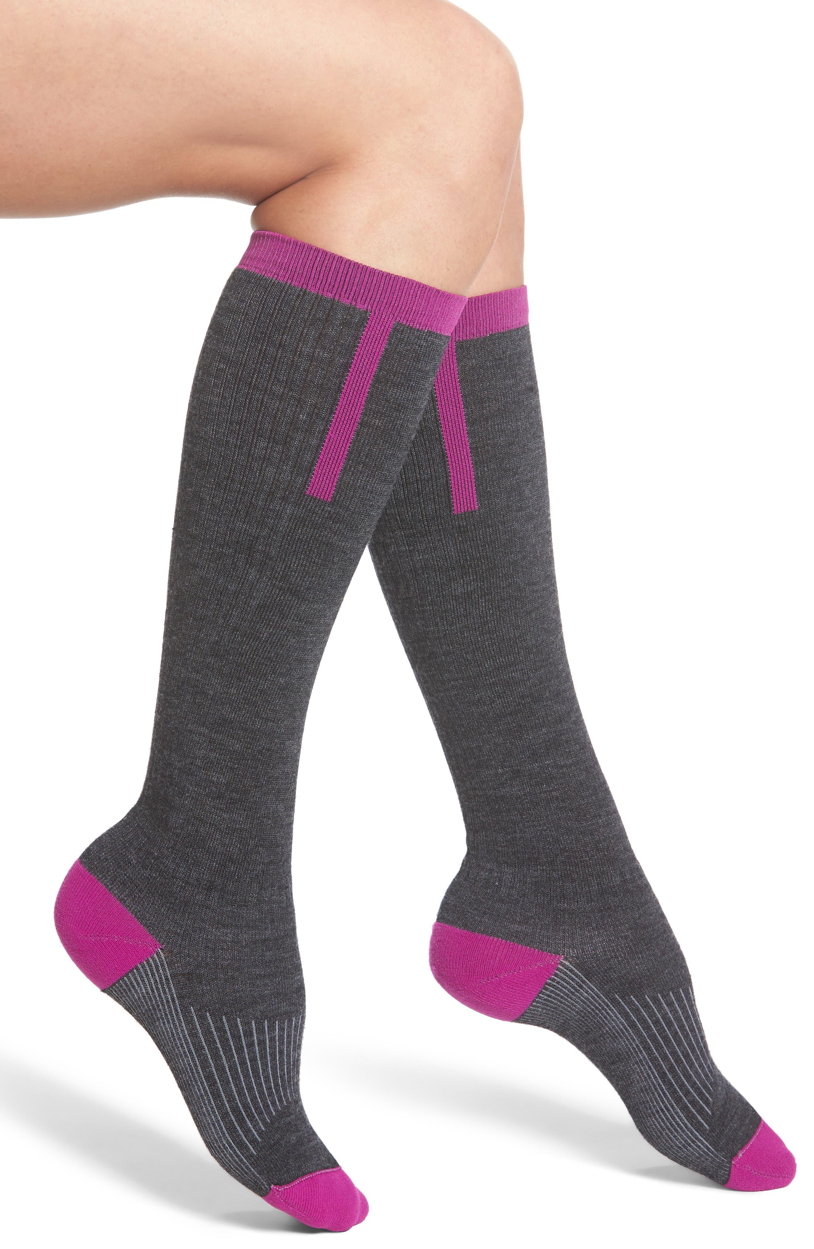 Snow Fusion Ultra Lite Ski Socks,                             Main thumbnail 1, color,                             Hot Magenta