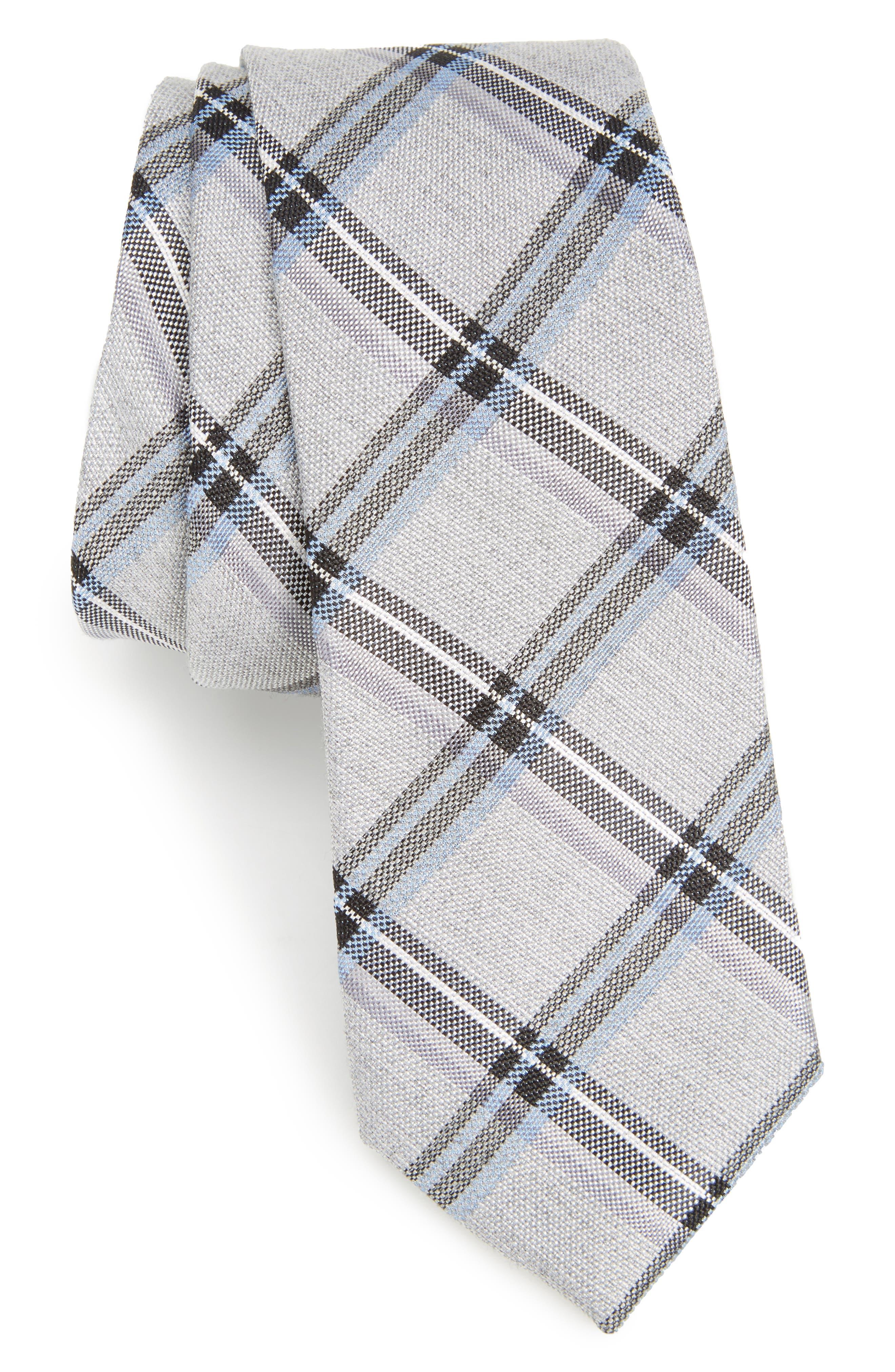 Bassett Check Skinny Silk Blend Tie,                             Main thumbnail 1, color,                             Black