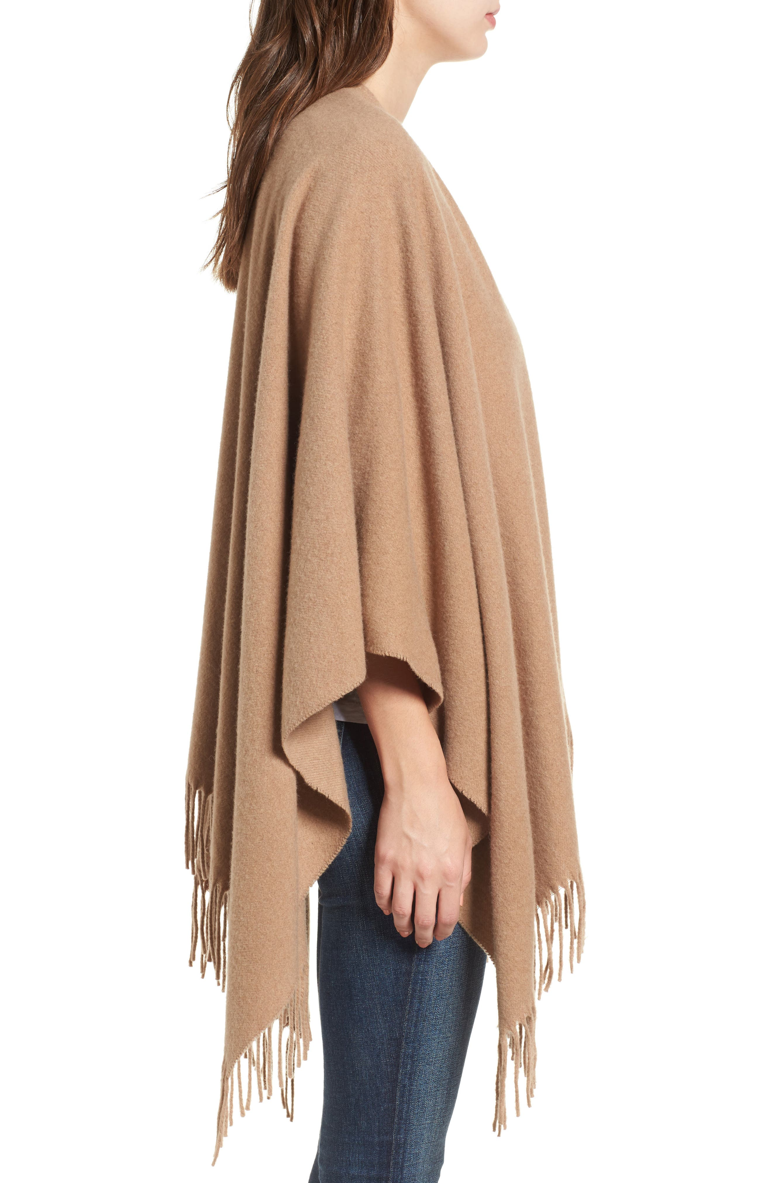 Cashmere Poncho,                             Alternate thumbnail 4, color,                             Heathered Camel