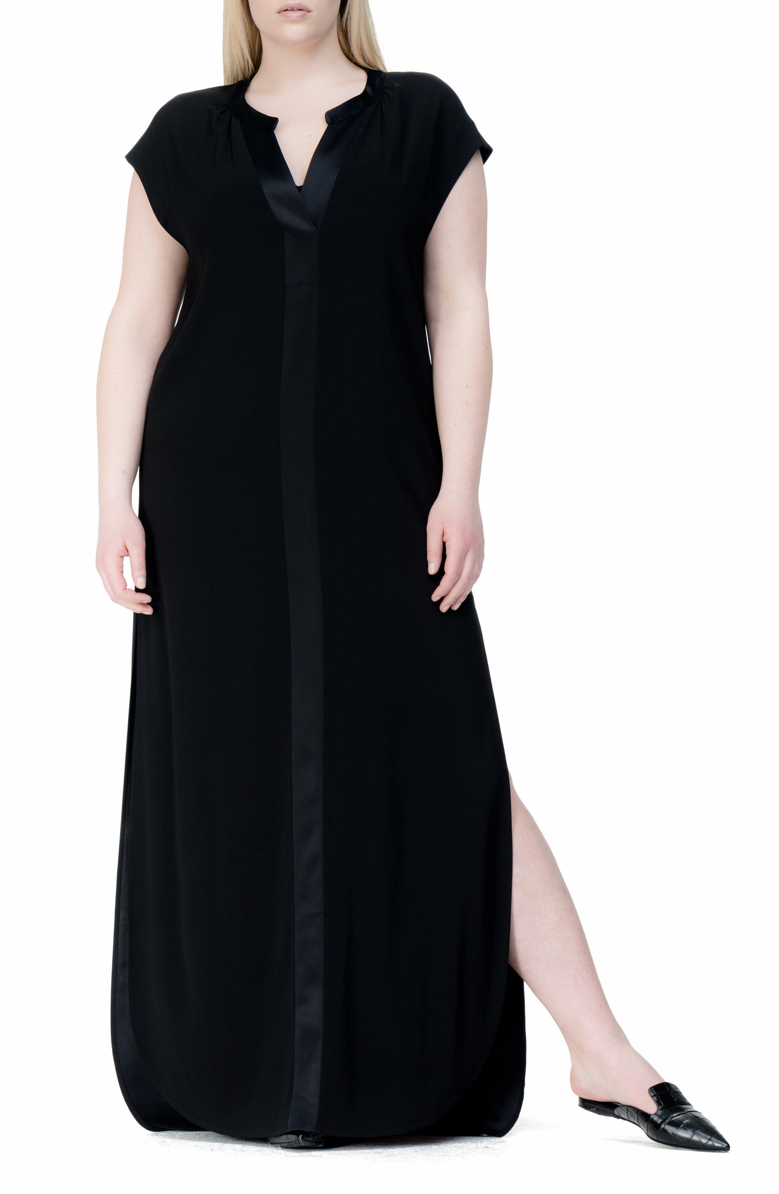 Winsett A-Line Gown,                         Main,                         color, Black