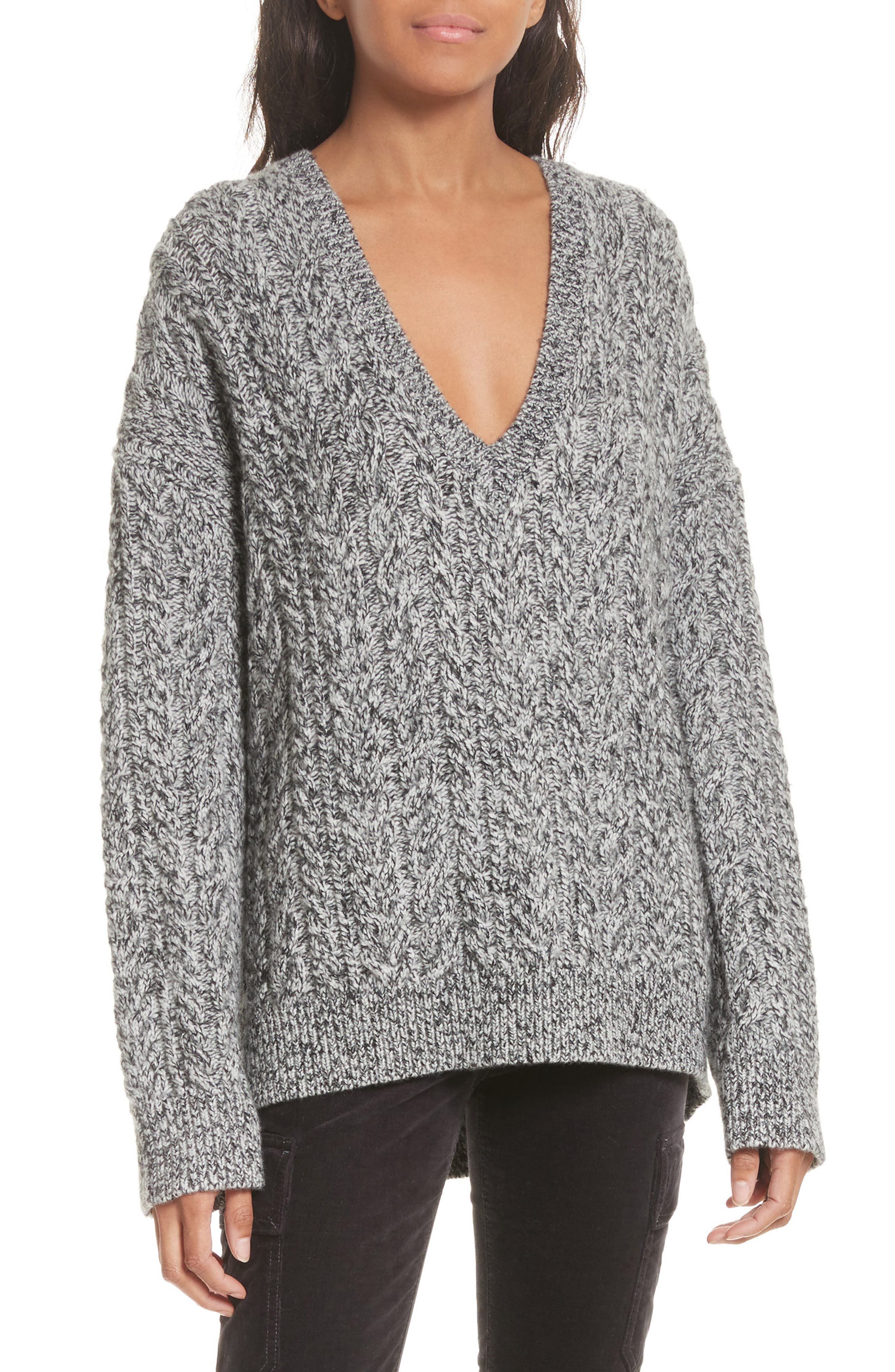 Vince Cable Knit V-Neck Sweater