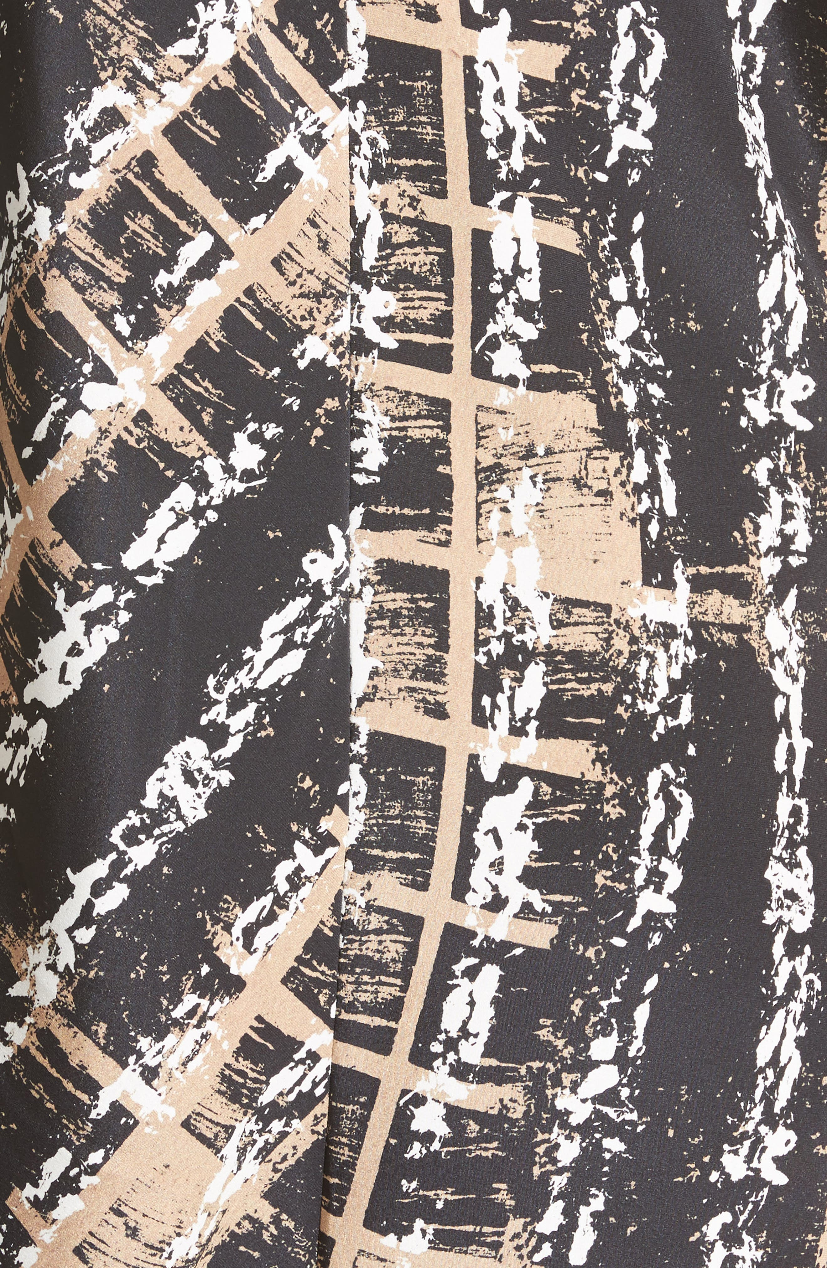 Painters Stripe Crêpe de Chine Dress,                             Alternate thumbnail 6, color,                             Painter Stripe