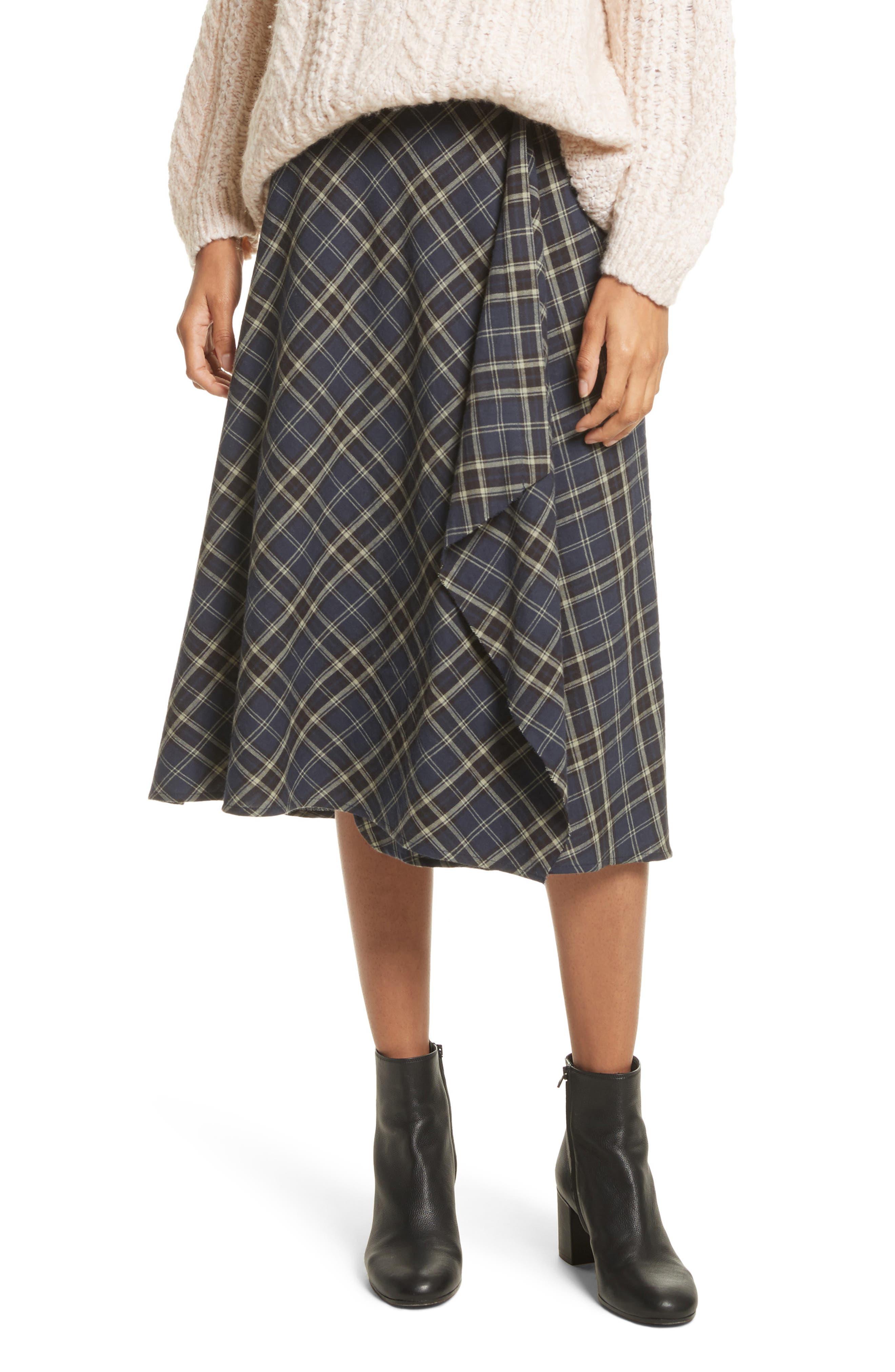 Vince Drape Front Plaid Skirt