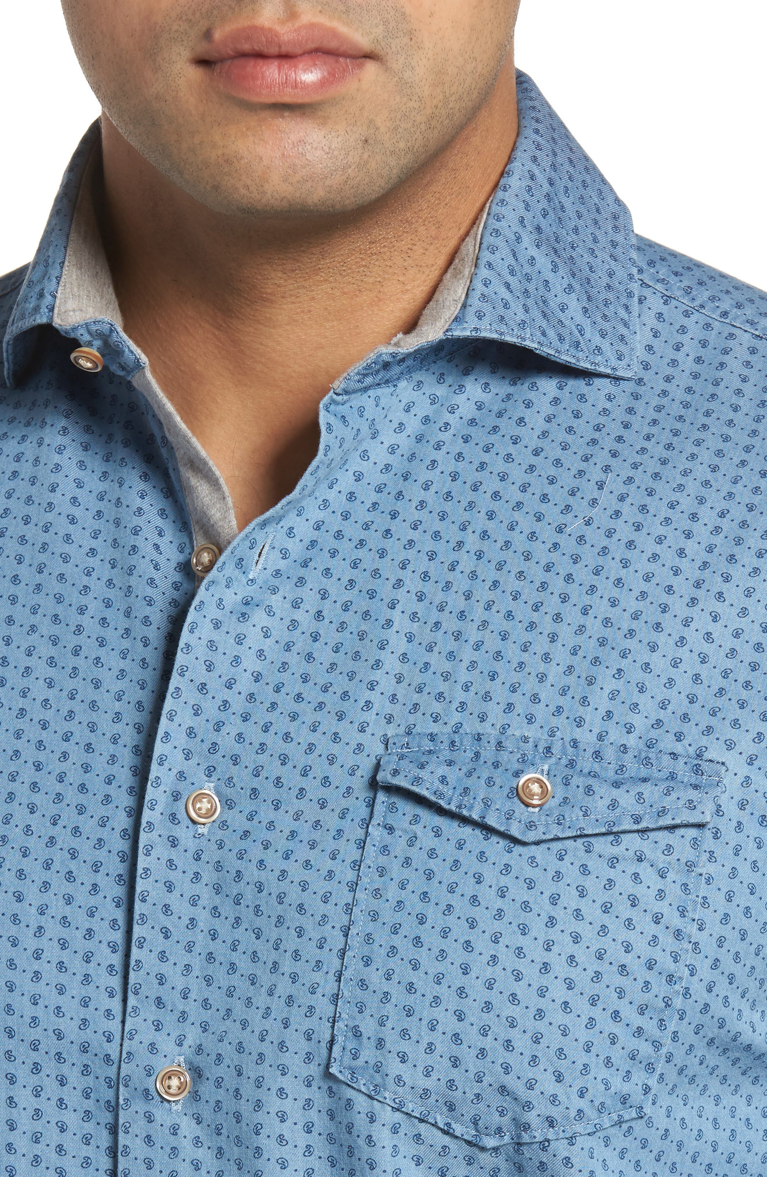 Alternate Image 4  - johnnie-O Capetown Classic Fit Paisley Sport Shirt