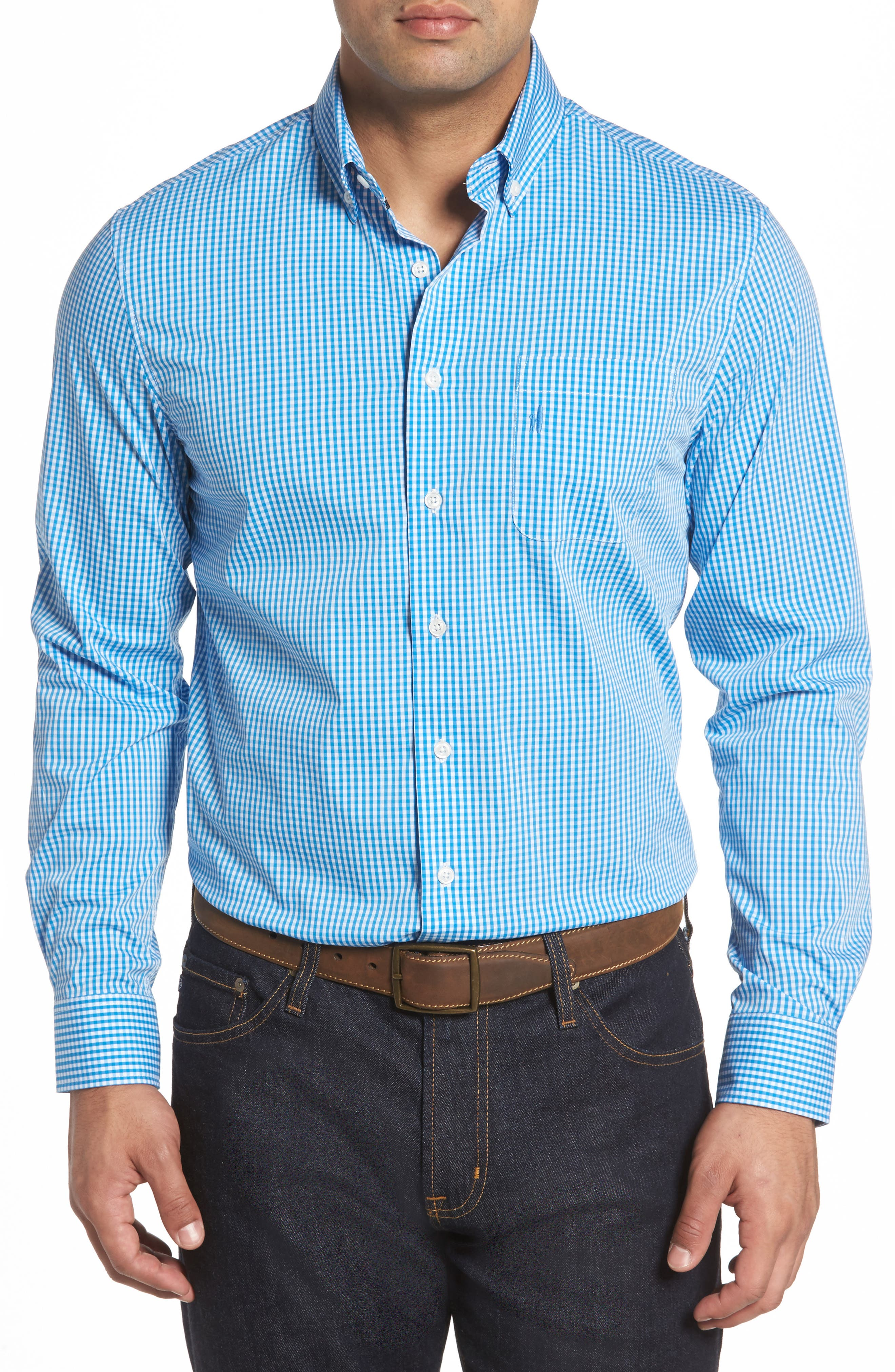 Augusta Classic Fit Check Sport Shirt,                             Main thumbnail 1, color,                             Oasis