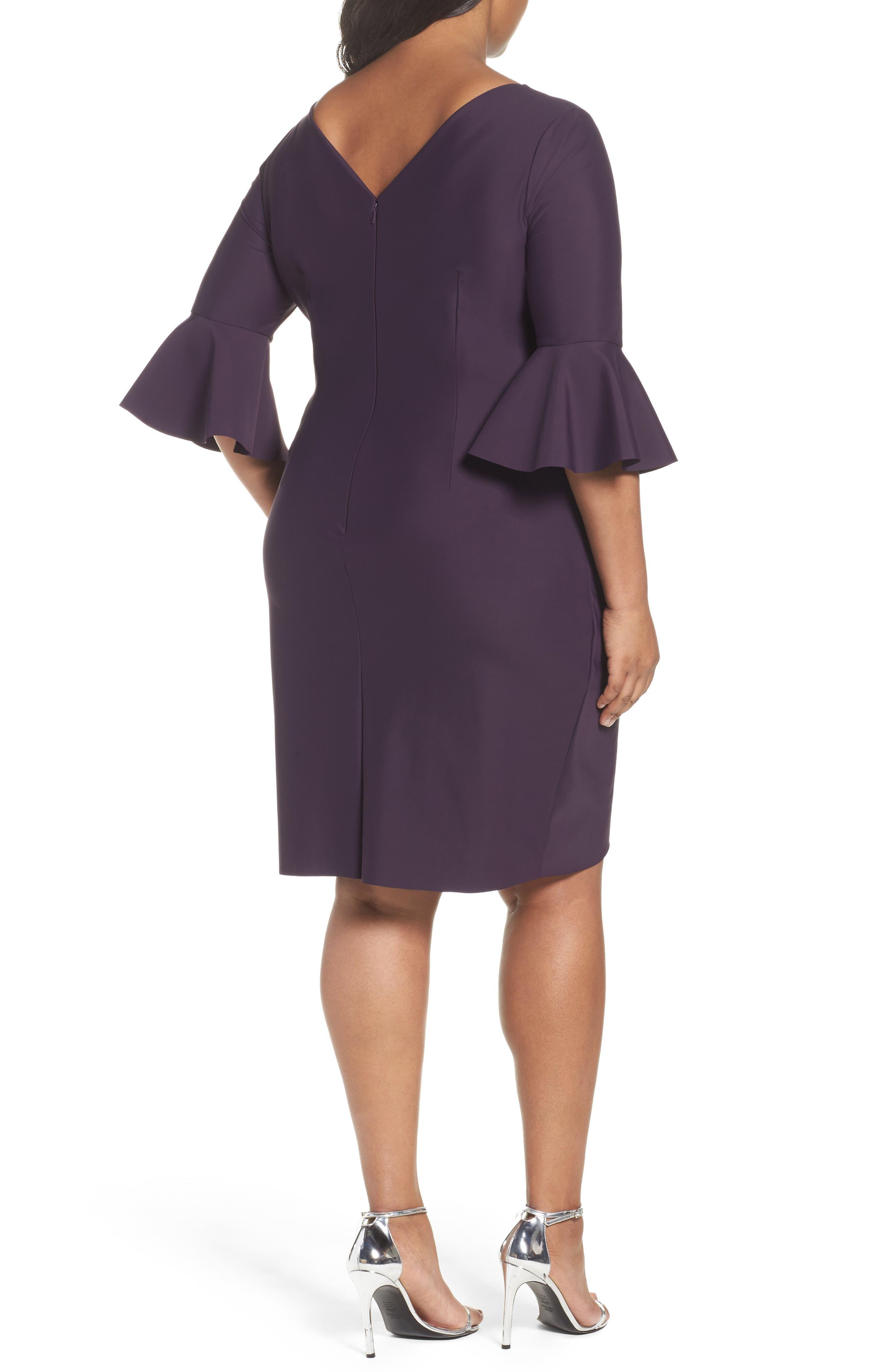 Alternate Image 2  - Alex Evenings Bell Sleeve Sheath Dress (Plus Size)