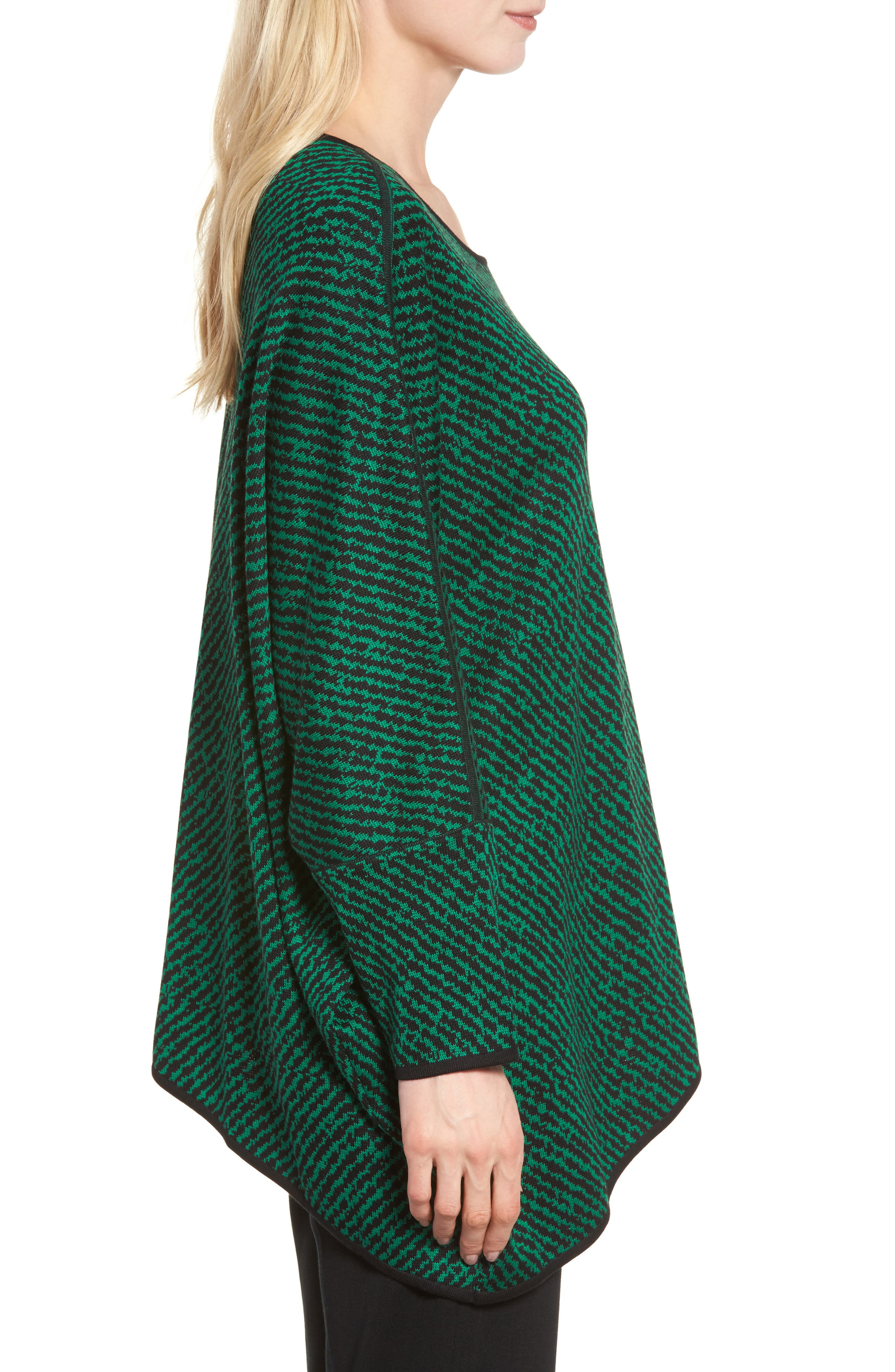 Asymmetrical Sweater,                             Alternate thumbnail 3, color,                             Black/ Viridian