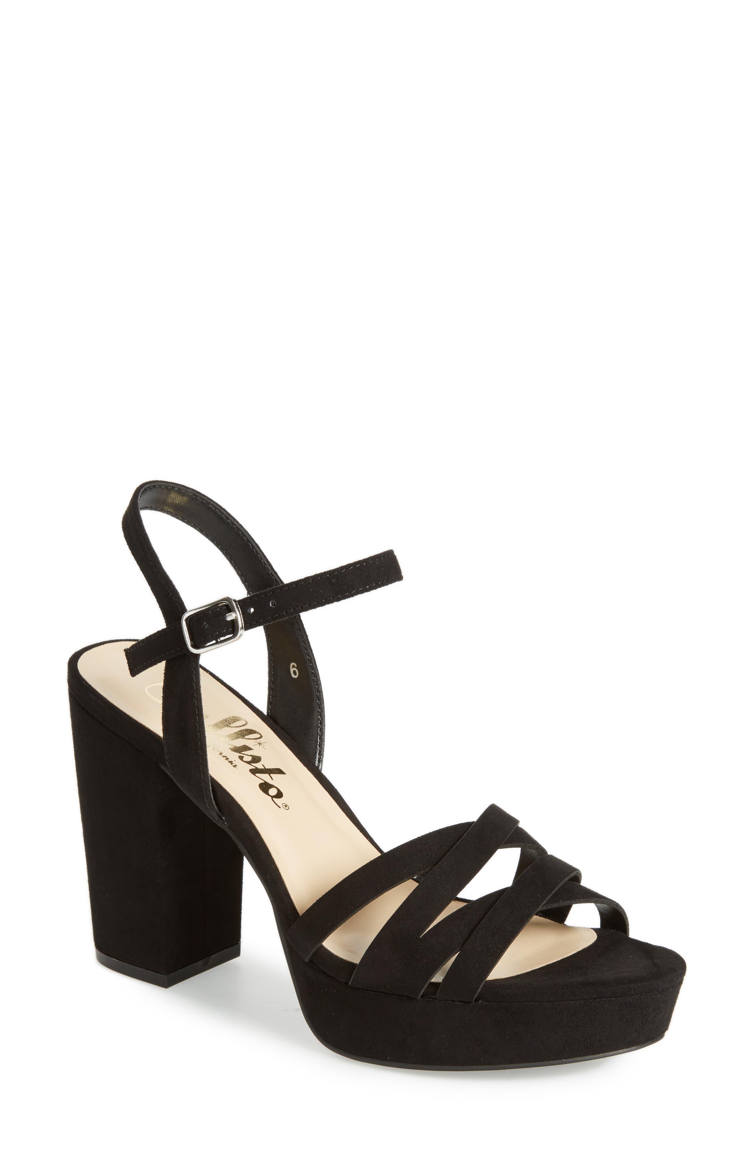 Paxx Platform Sandal,                             Main thumbnail 1, color,                             Black Faux Suede