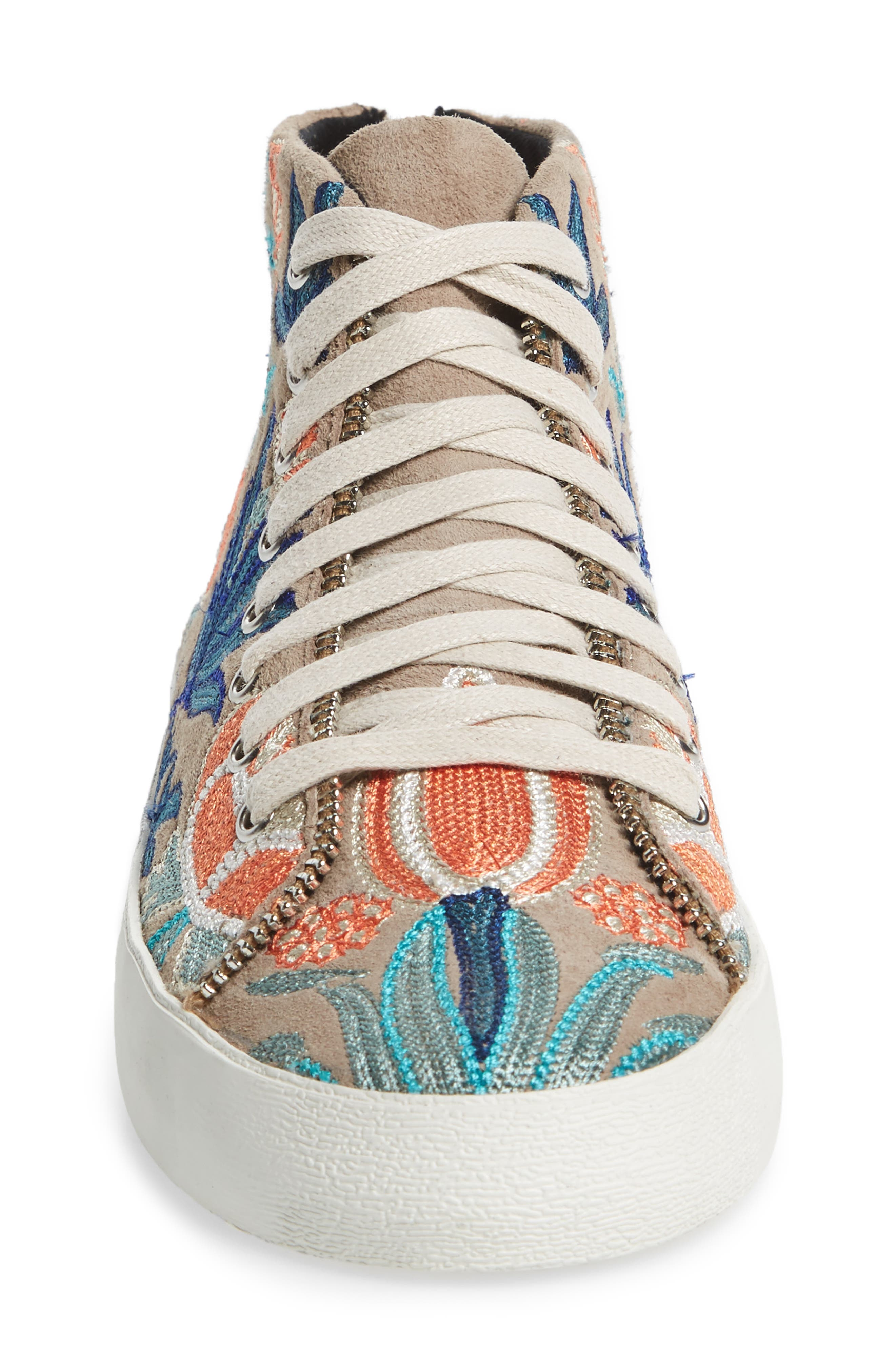 Zaina Embroidered Sneaker,                             Alternate thumbnail 4, color,                             Sand