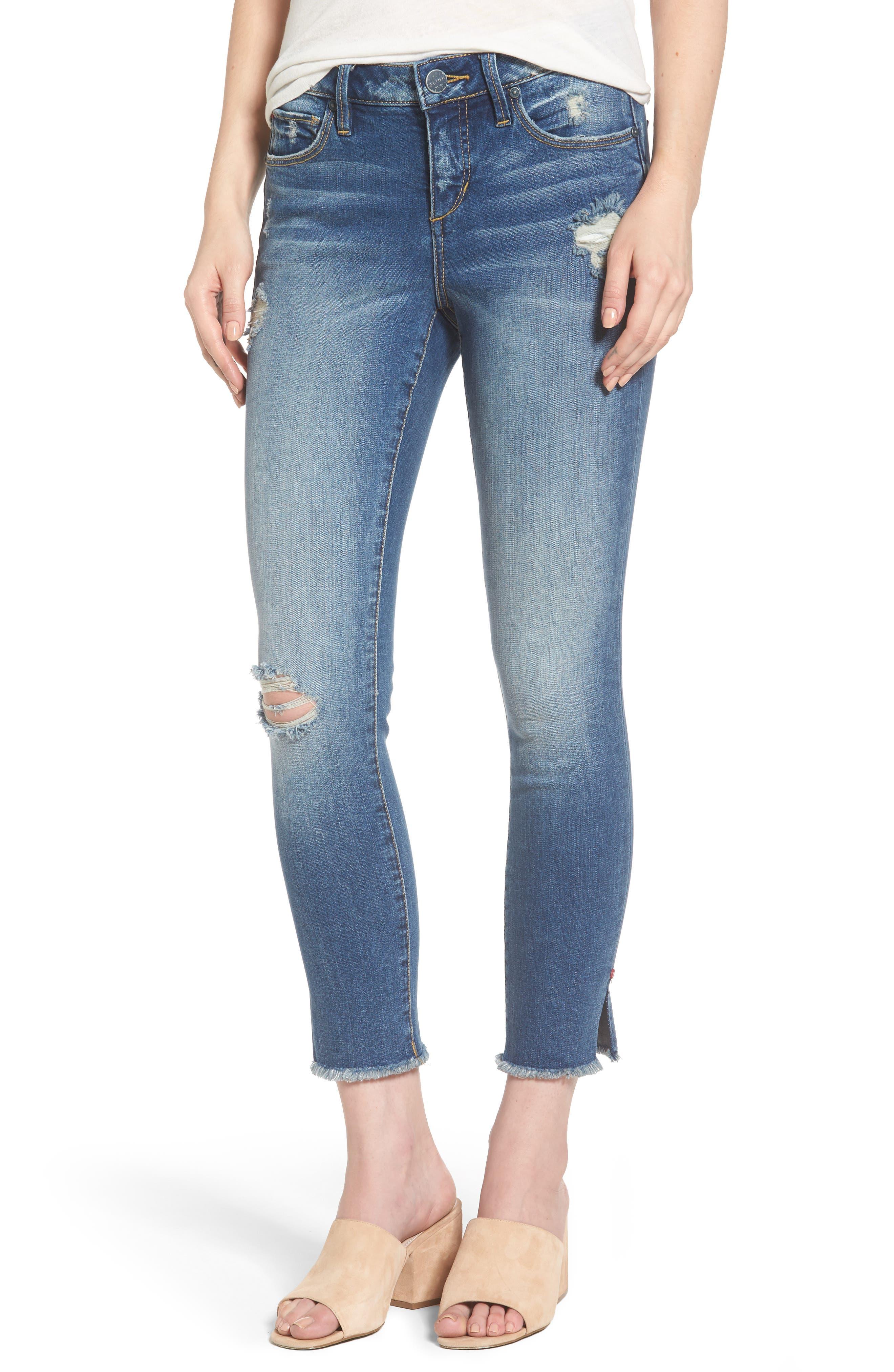 SLINK JEANS Frayed Hem Ripped Ankle Jeans