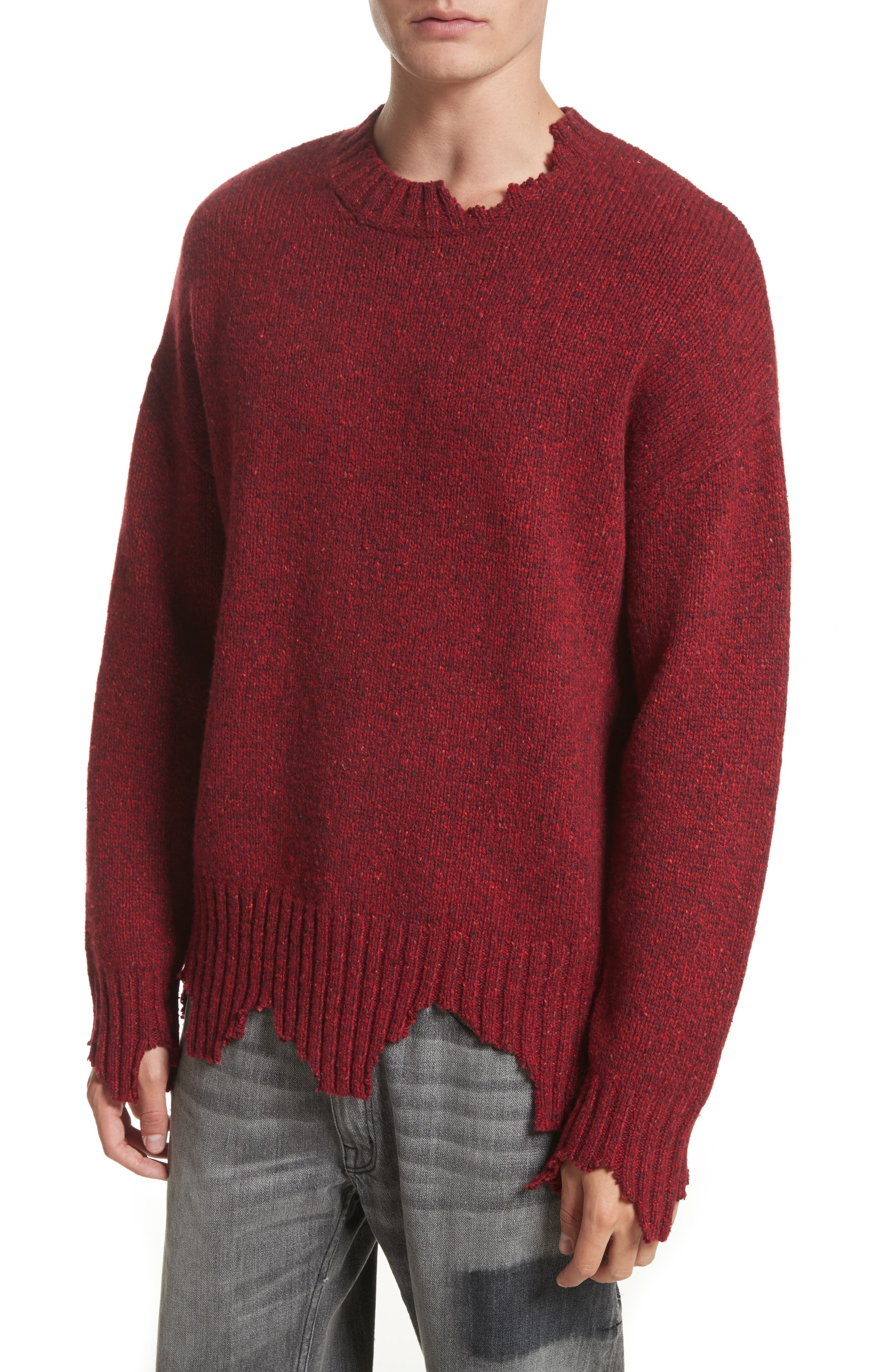 Destroyed Crewneck Sweater,                             Alternate thumbnail 4, color,                             Red