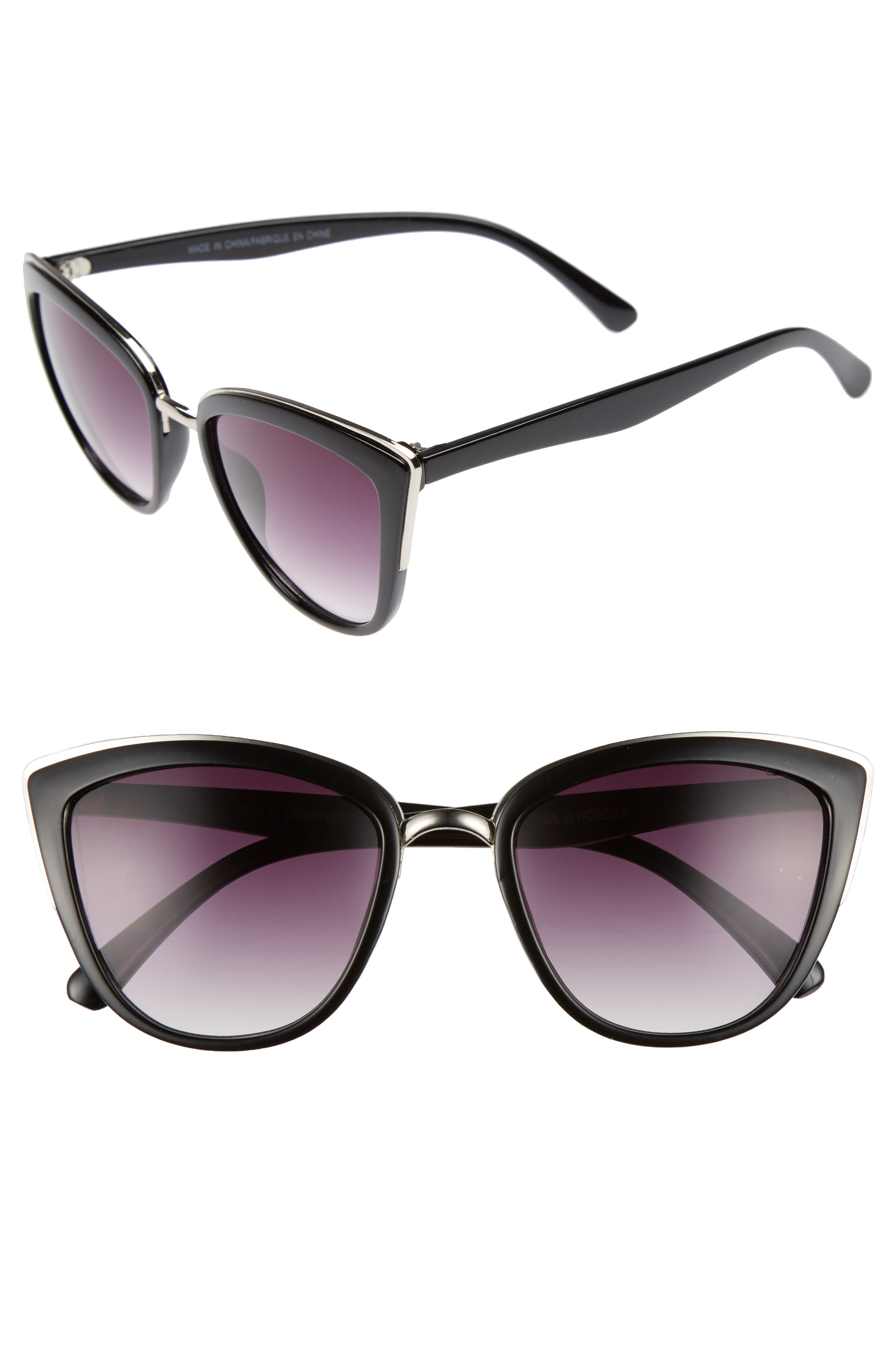55mm Metal Rim Cat Eye Sunglasses,                         Main,                         color, Black